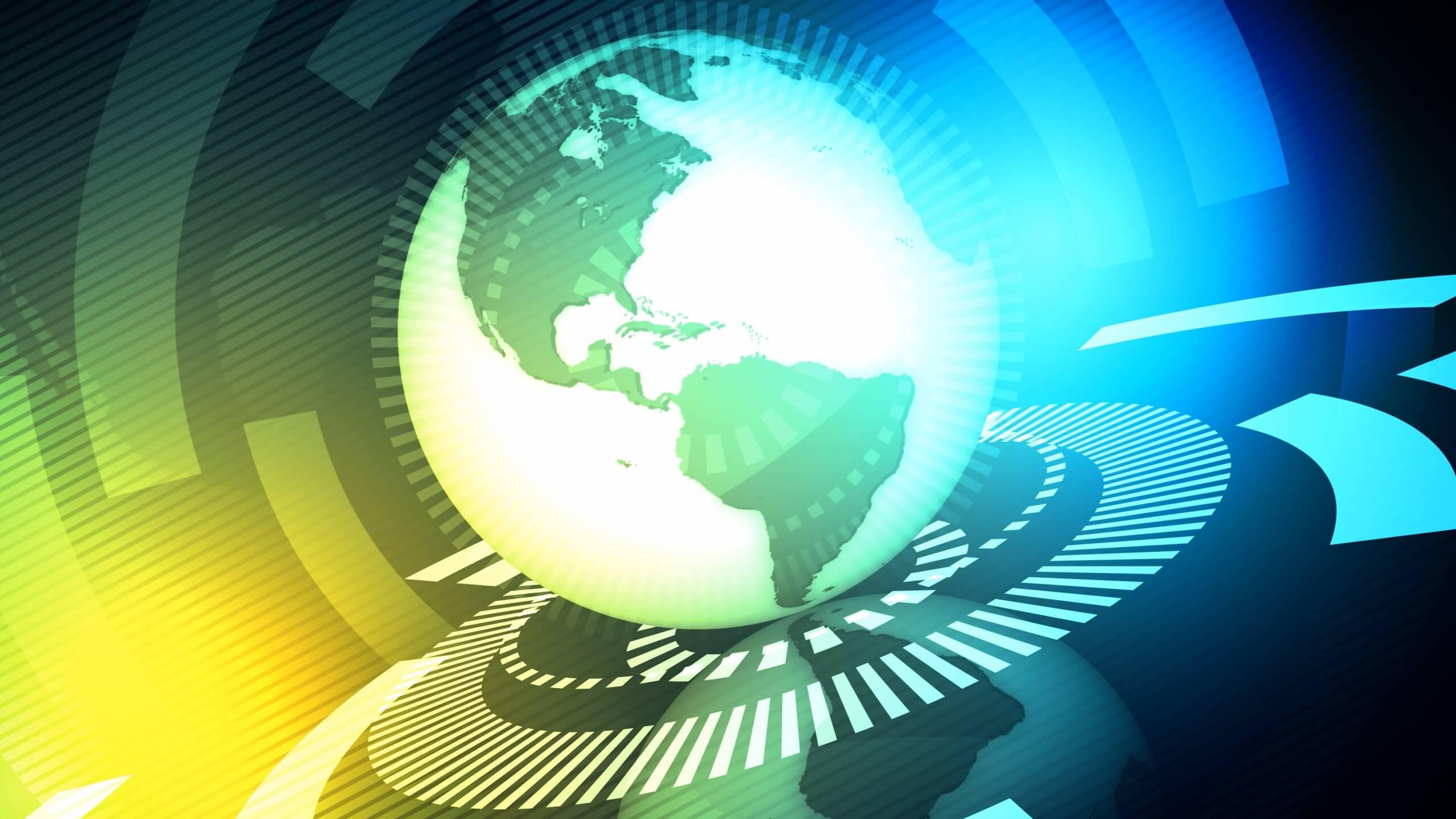 视频素材 5个世界地图新闻栏目背景素材无缝循环