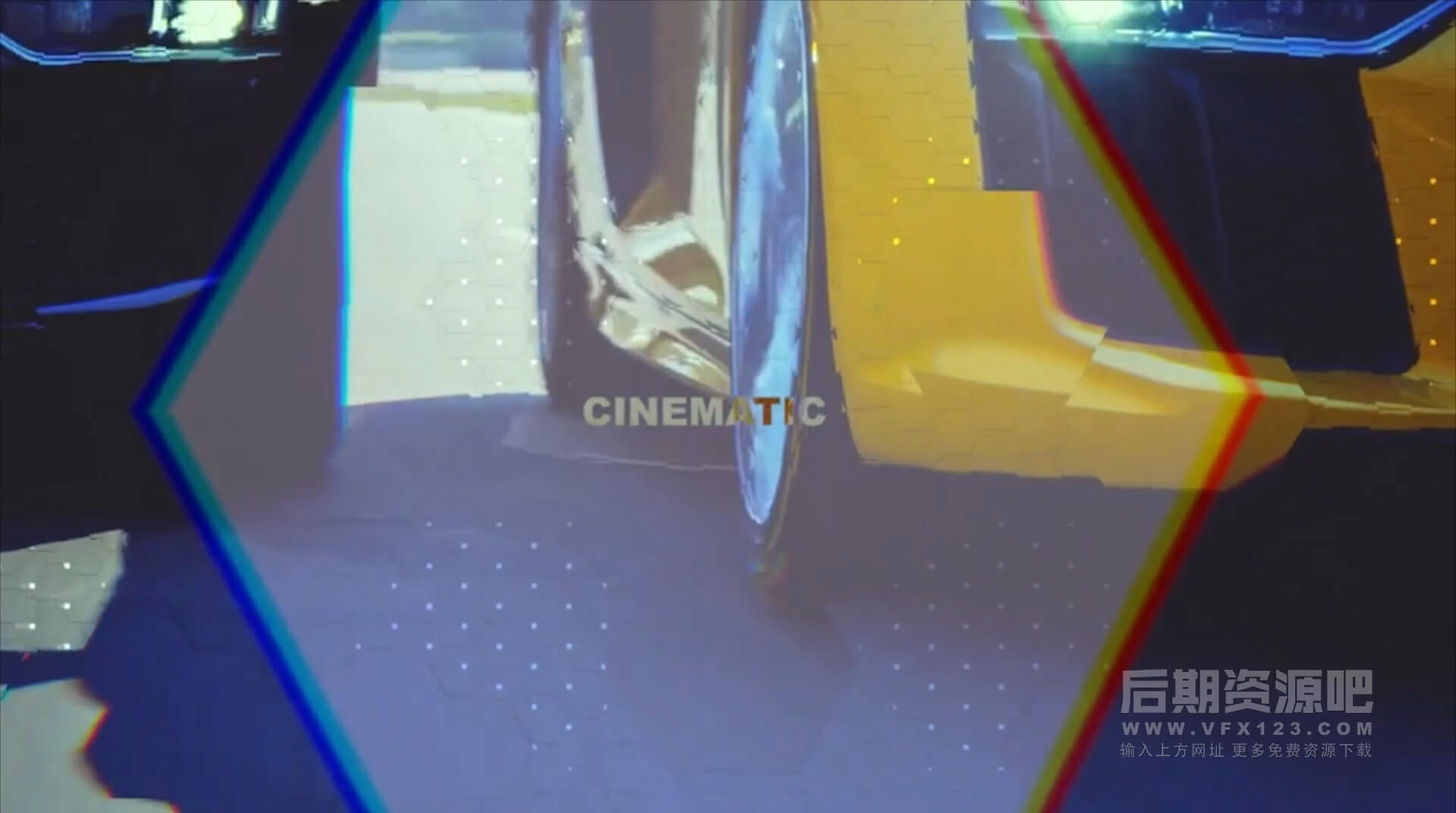 Motion模板 毛刺干扰特效科幻风格电影预告片头插件 Hexagon Glitch Opener