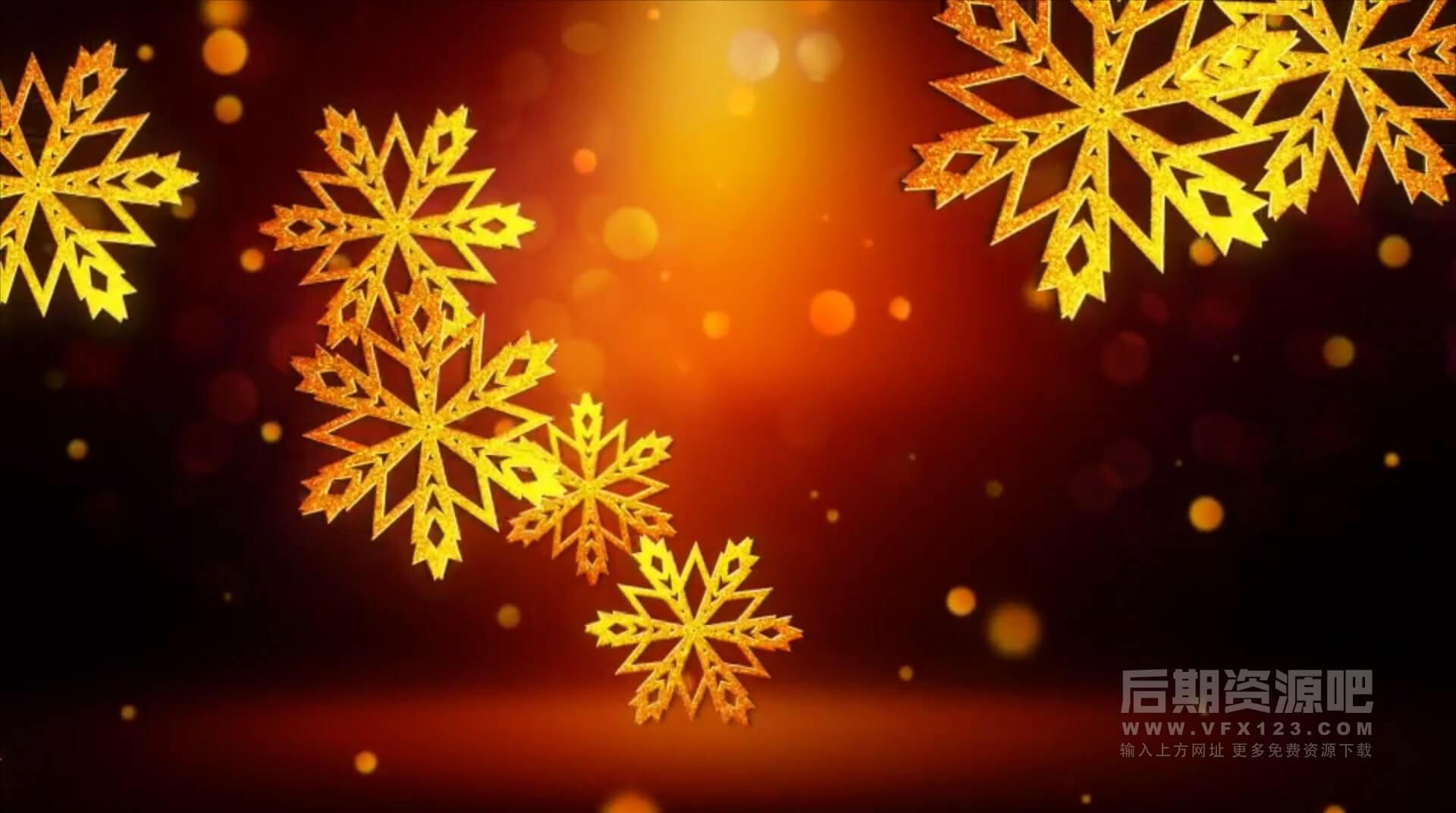 Motion模板 金色雪花粒子汇聚徽标LOGO展示模板 Snowflakes Logo