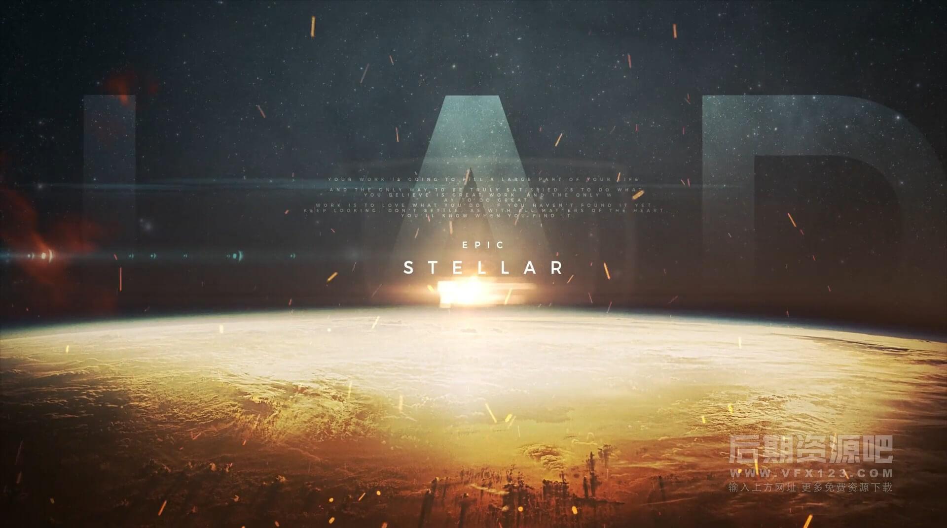 Fcpx插件 4K震撼史诗巨制粒子飞散特效电影预告片模板 Space Trailer
