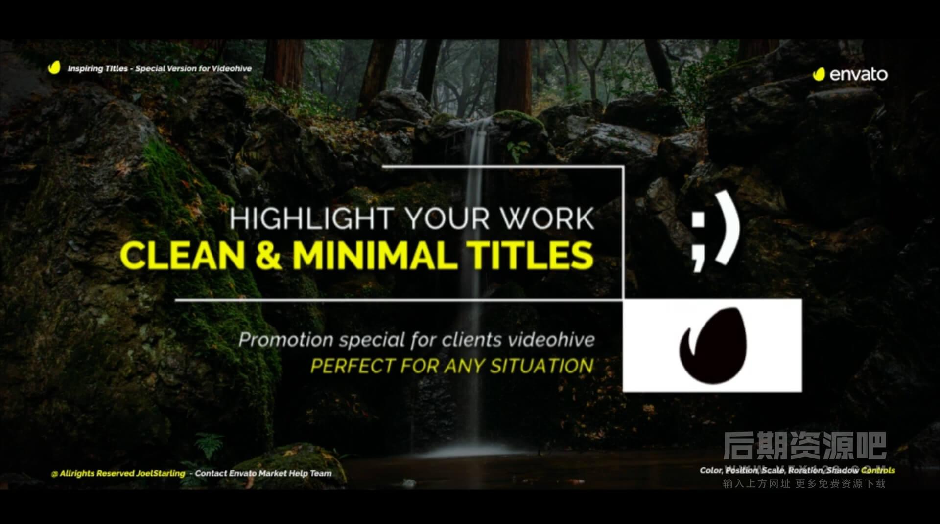 Fcpx标题插件 20组干净优雅字幕条排版动画模板 Inspiring Titles