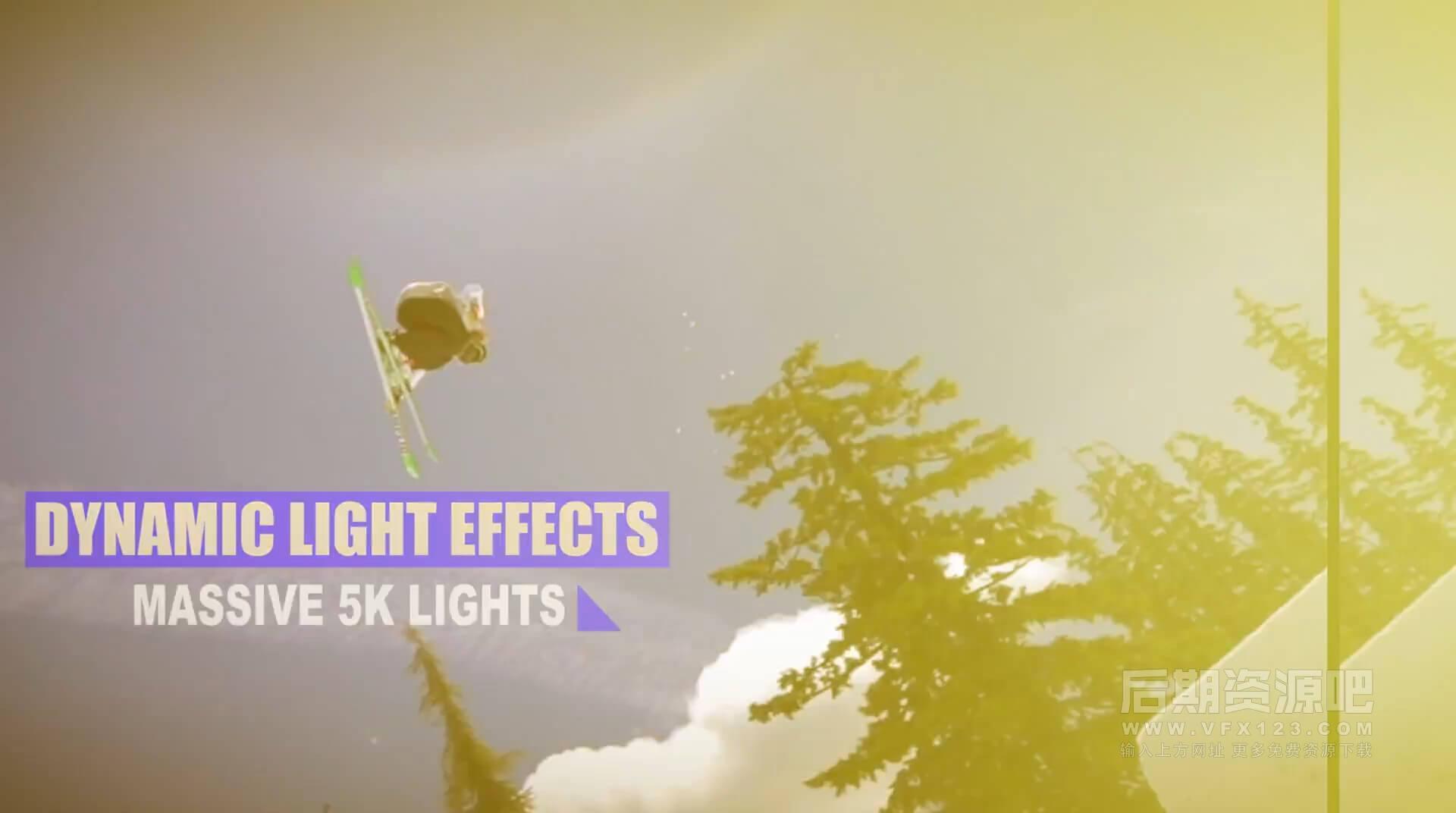 视频素材 350个4k冲击闪烁动感光线炫光光晕效果素材 Rampant Impact Lights