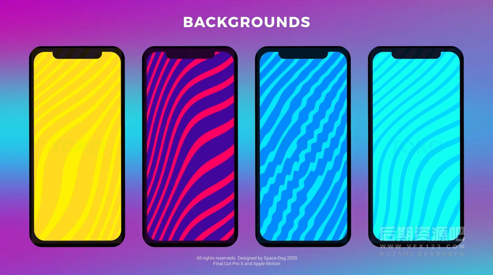 Fcpx插件 竖屏模板适用手机短视频标题背景图形包 Instagram Graphics Pack