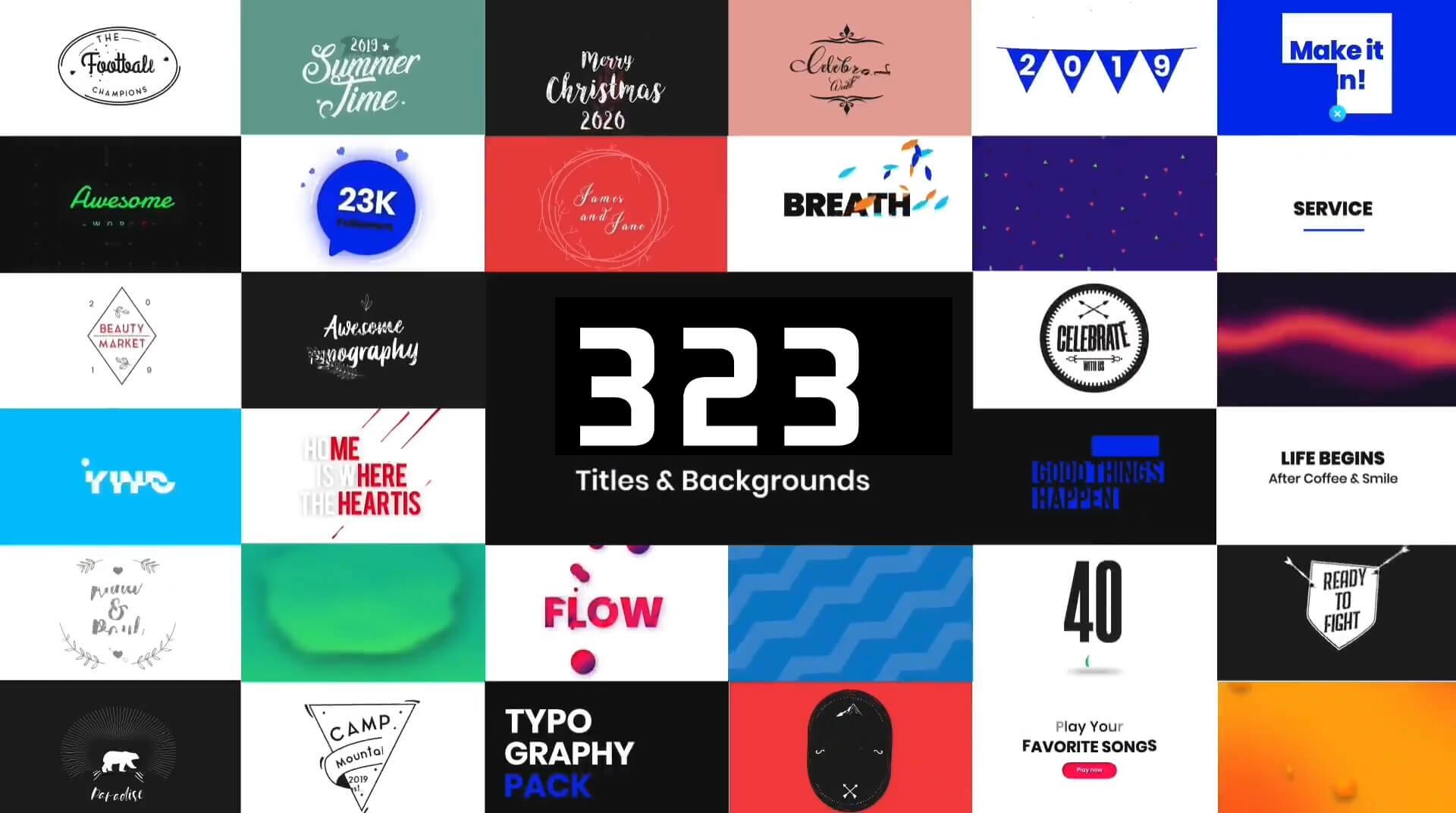 Fcpx插件 323个现代时尚流行迷你创意文字标题背景元素动画预设