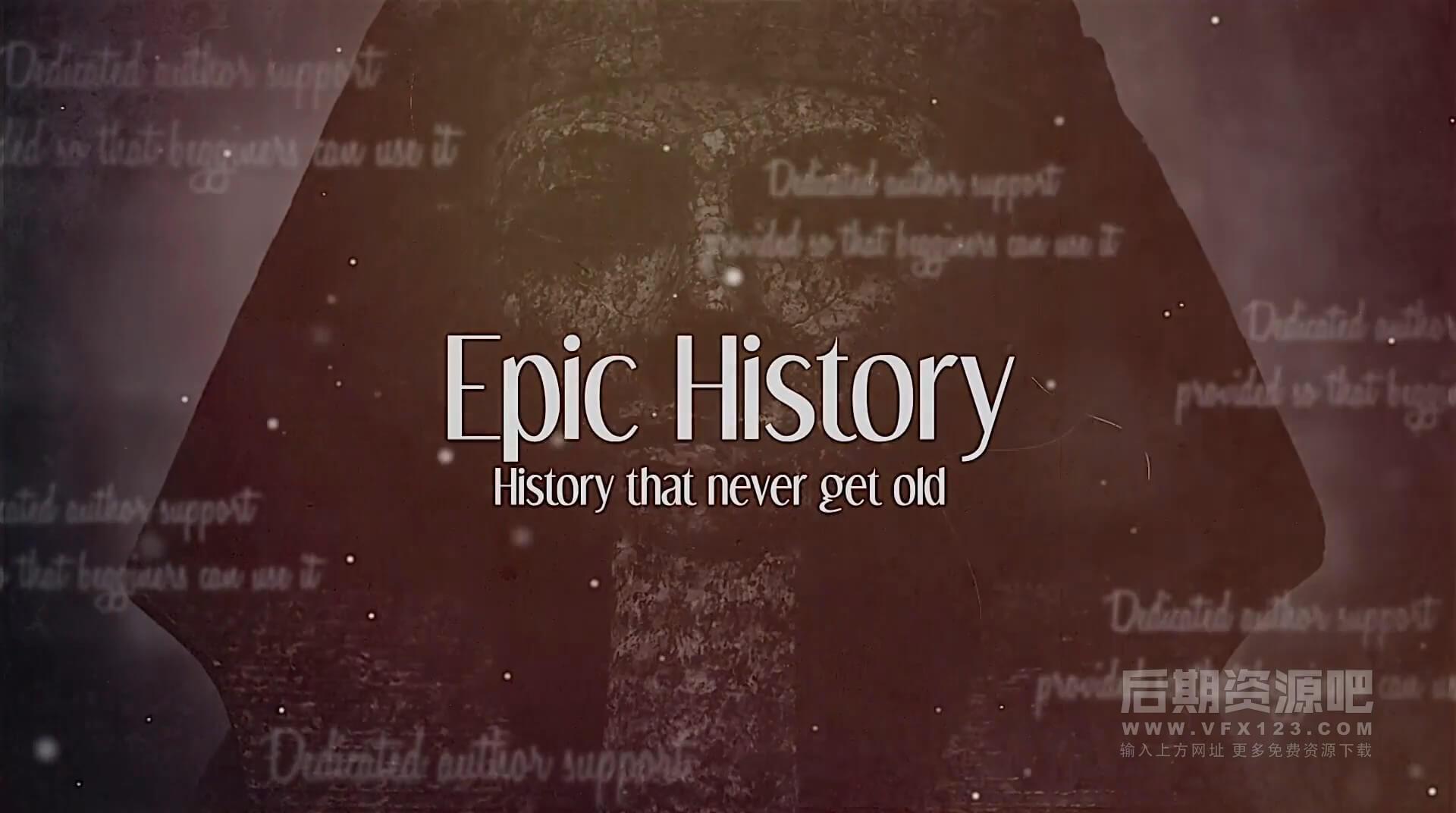 Fcpx主题插件 历史回忆录老式纪念册片头模板 Epic History