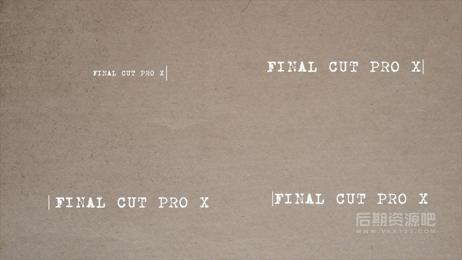 fcpx插件 50组老式复古打字机文字动画效果 Type-On Titles