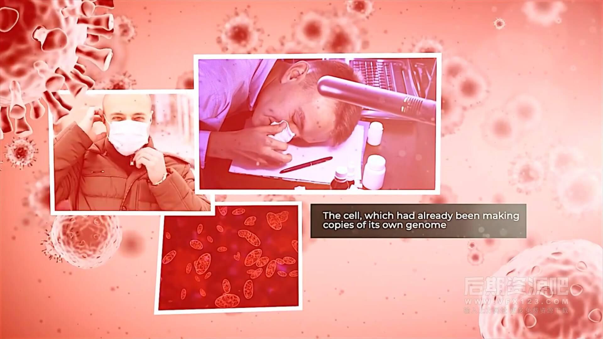 fcpx主题模板 战疫情抗病毒宣传纪录片片头模板 The Virus