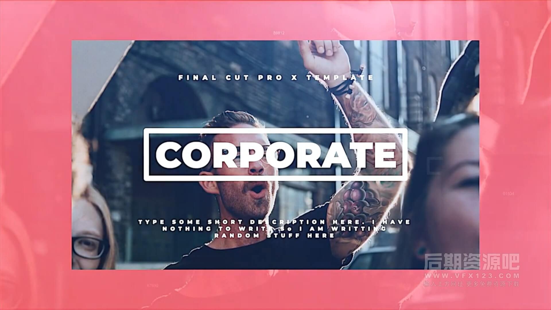 Fcpx主题模板 简洁大方商务公司展示宣传片片头模板 Corporate