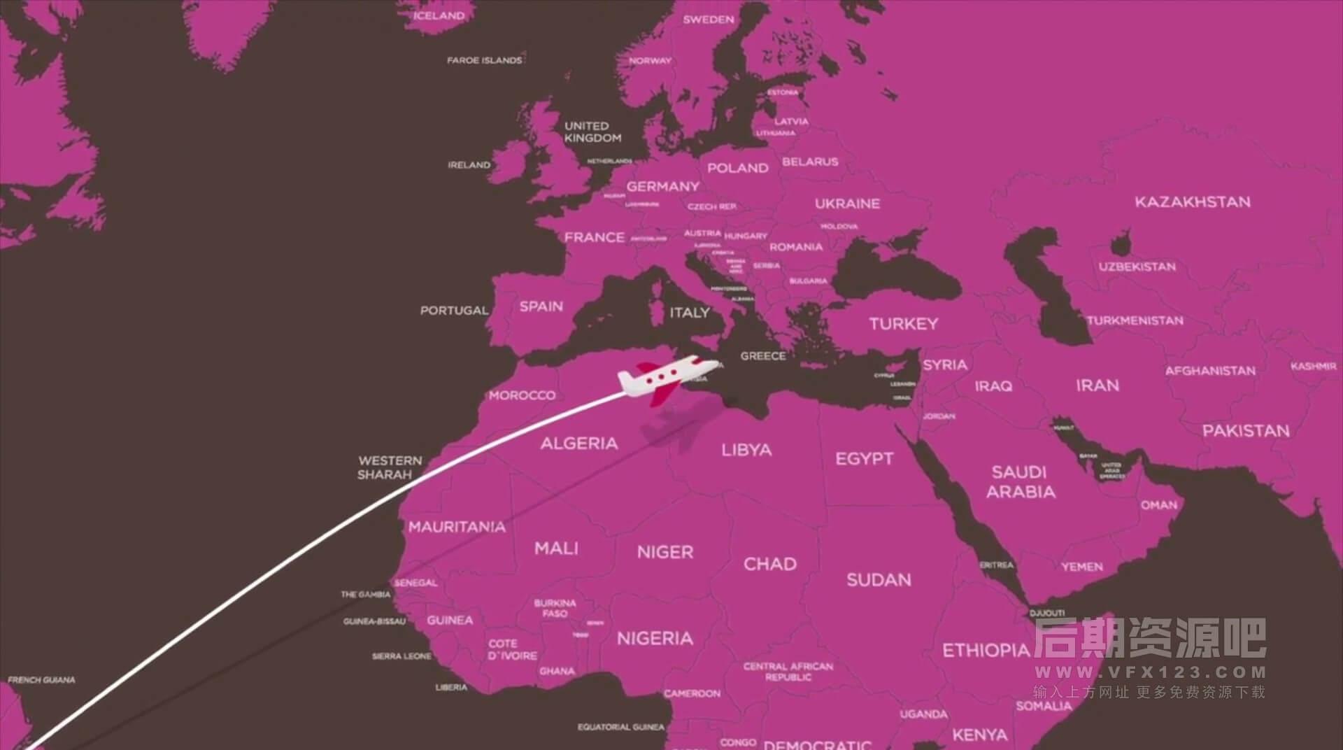 fcpx插件 点对点地图动画路线生成器 旅行商务路线规划动画工具