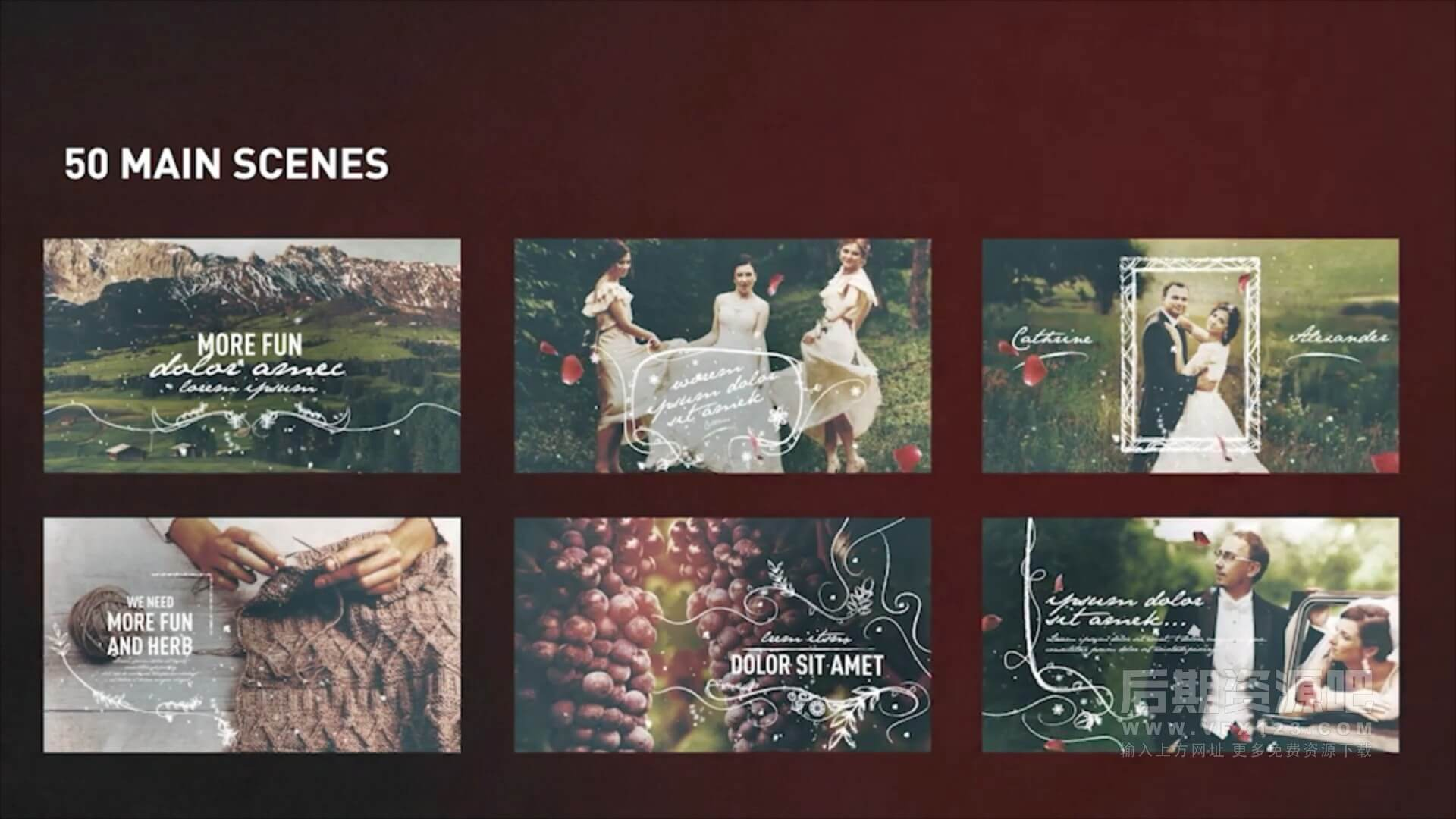 AE模板 浪漫婚礼MV回忆纪念册视频模板工具包 Wedding Memories Slideshow
