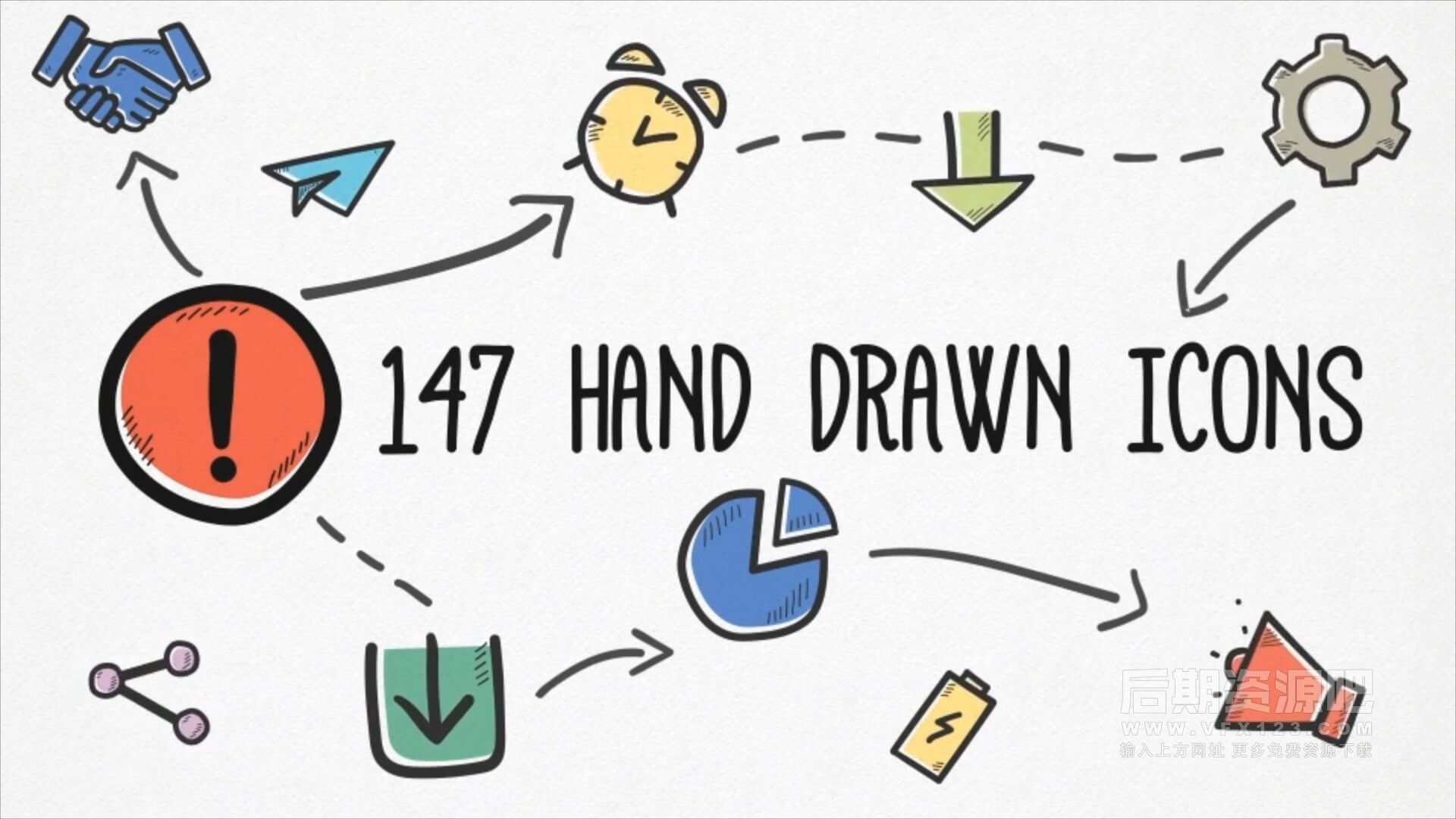 AE模板 147个可爱手绘卡通ICON图标动画 Hand-drawn Icons Pack
