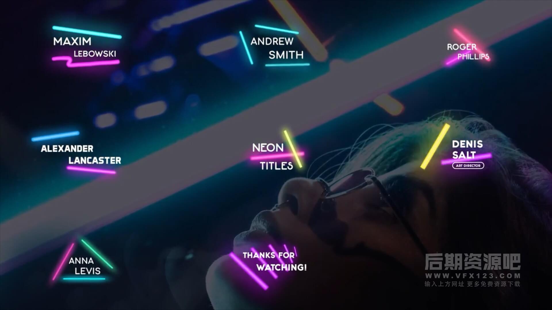 fcpx标题插件 8组时尚霓虹灯闪光效果标题模板 Neon Lights Titles