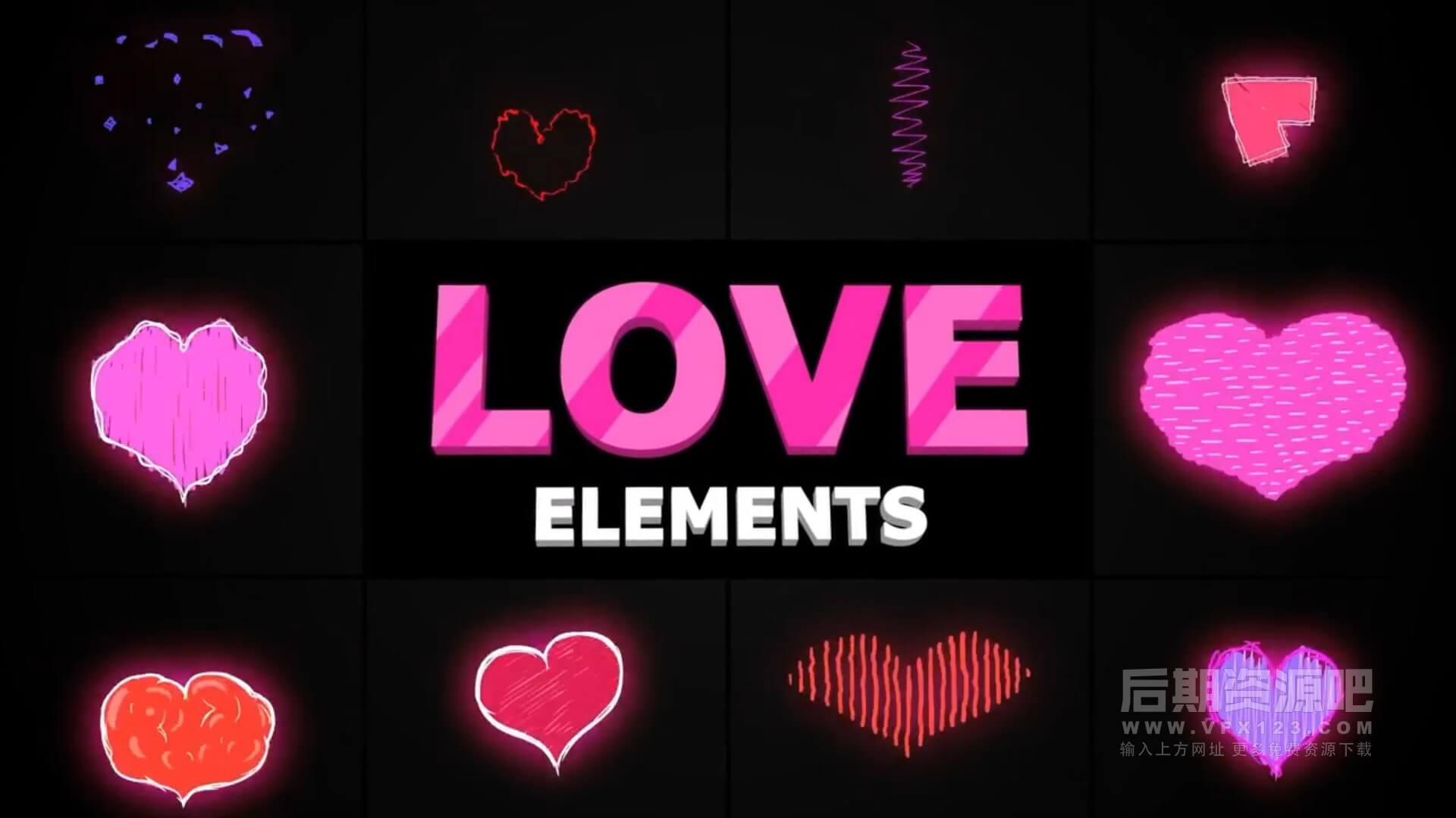 fcpx插件 10组可爱卡通爱心桃心动画素材 Cartoon Love Elements