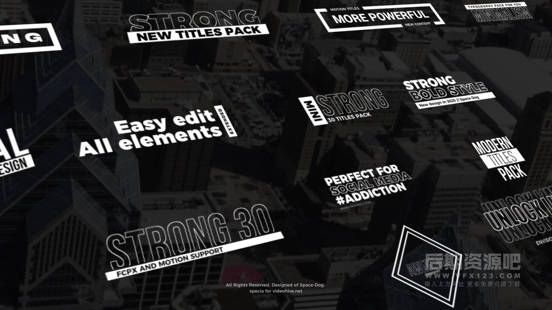 Fcpx标题插件 30个简约黑白纯色字幕排版动画 Strong Titles
