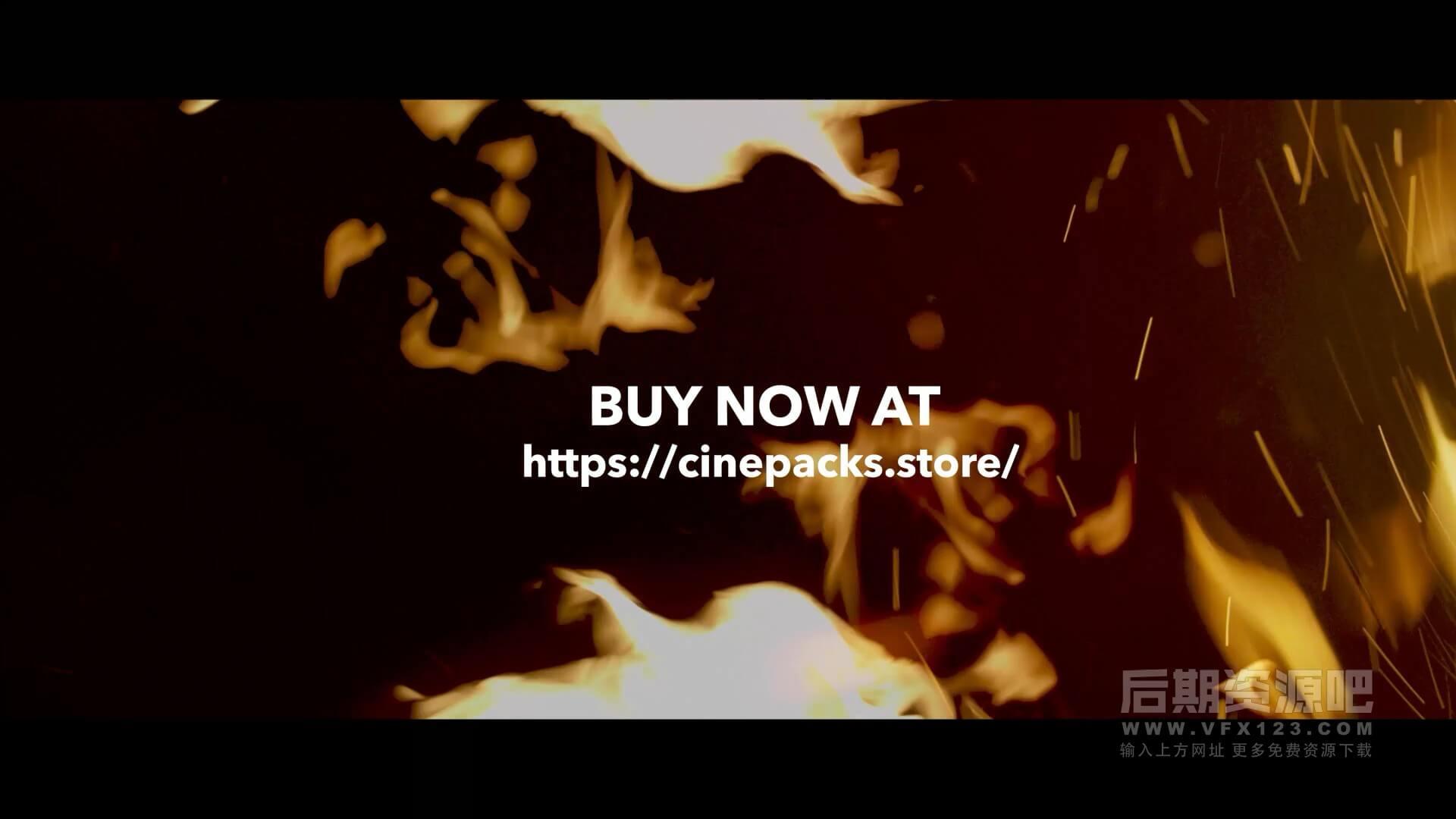 视频素材 4K火焰燃烧特效合成素材 包含音效 CinePacks Fire FX