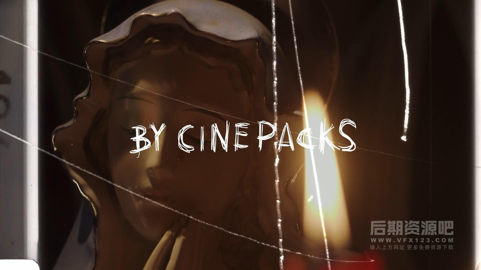 视频素材 影片添加胶片划痕旧电影特效合成素材 CinePacks Scratch FX