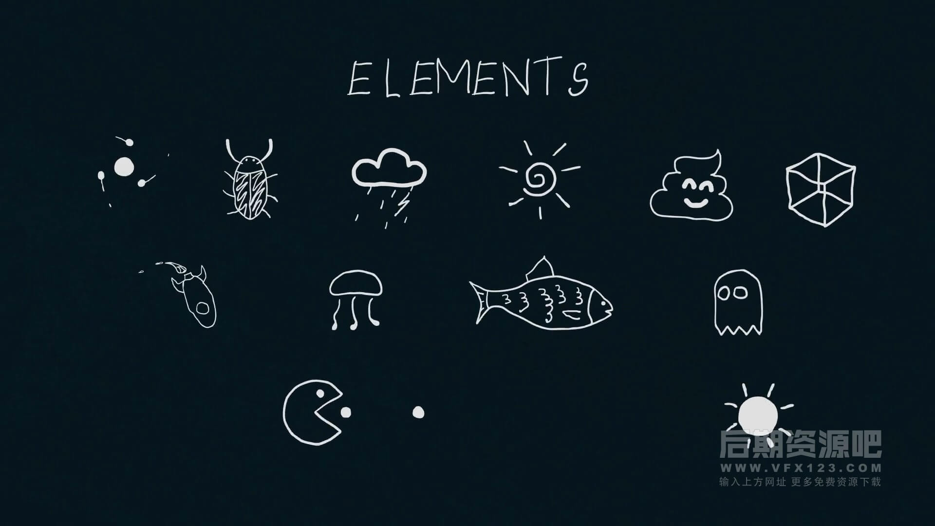 AE模板 有趣手绘英文数字符号动画元素 Alphabet Elements
