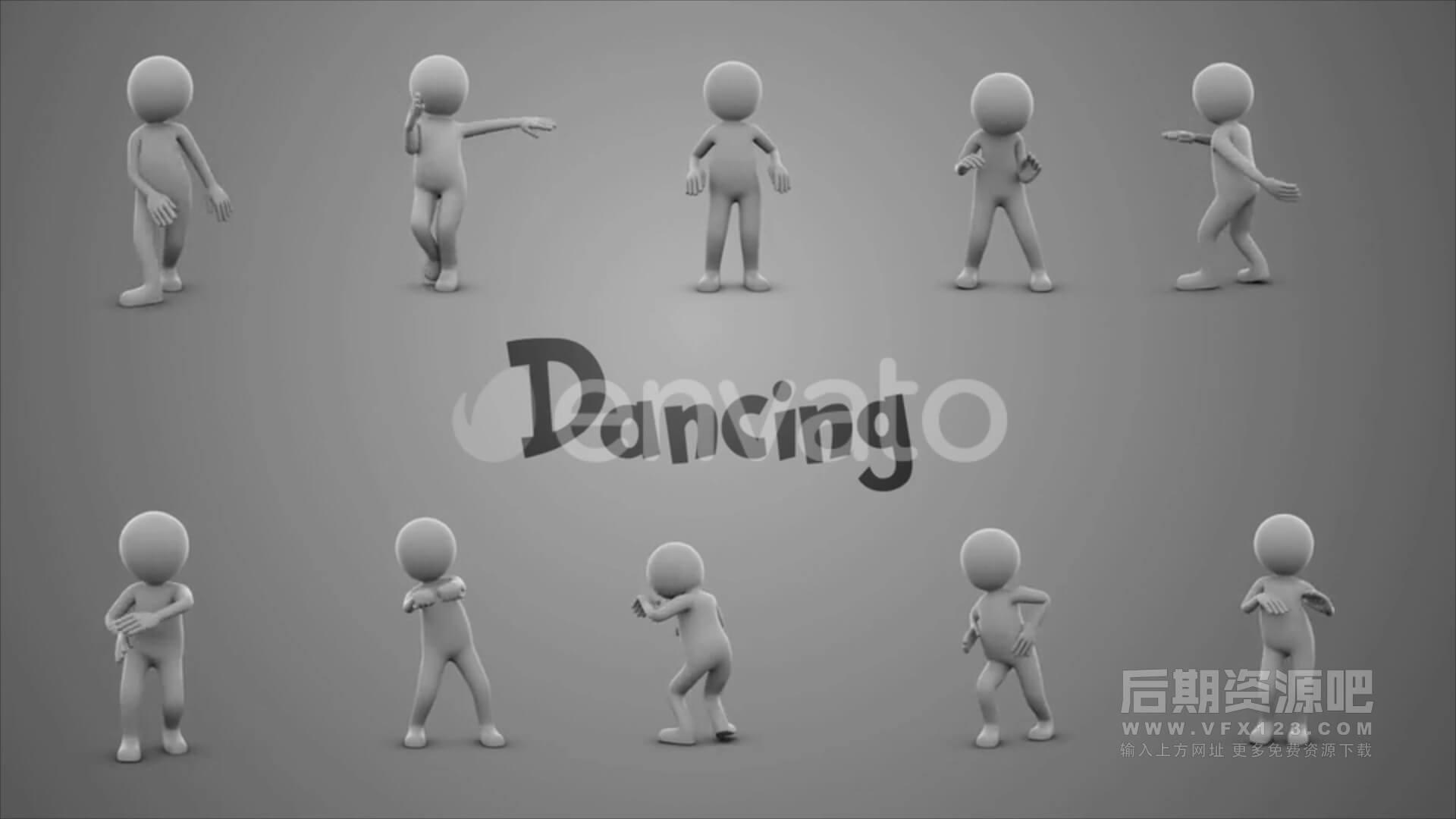 视频素材 50个简笔3D人物行为动画 舞蹈行走跑运动等 Stick Figure Pack