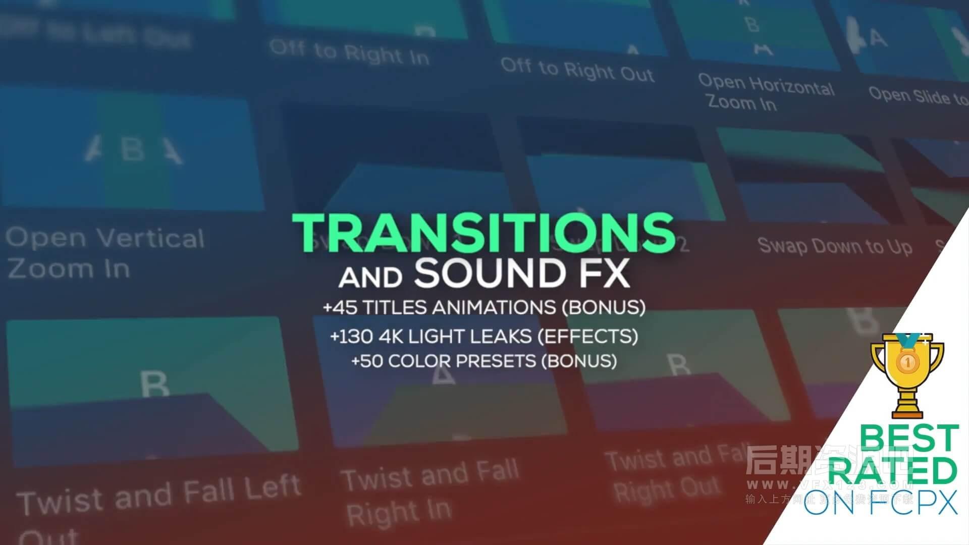 FCPX插件 1100个冲击缩放平移滑动扭曲水墨炫光转场+音效素材+标题模板 v7