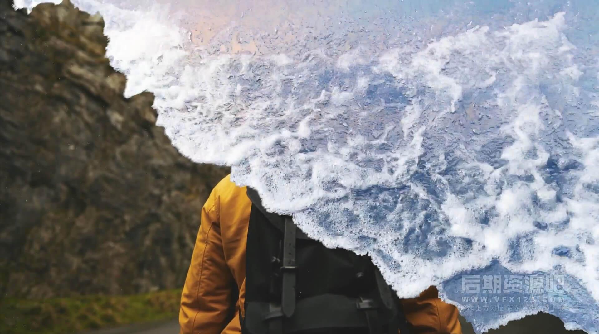 AE模板 10组4K真实海浪过渡转场 带通道视频素材 适用旅拍等影片制作