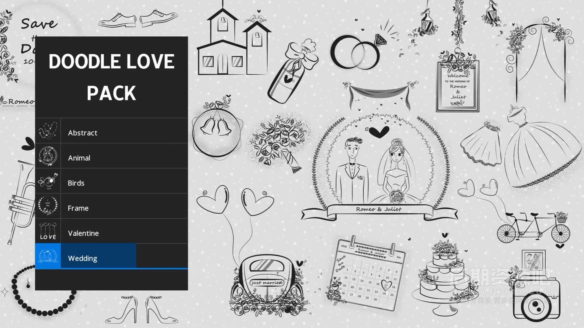 视频素材 100+可爱手绘涂鸦小装饰动画素材 Animated Doodle Love Pack