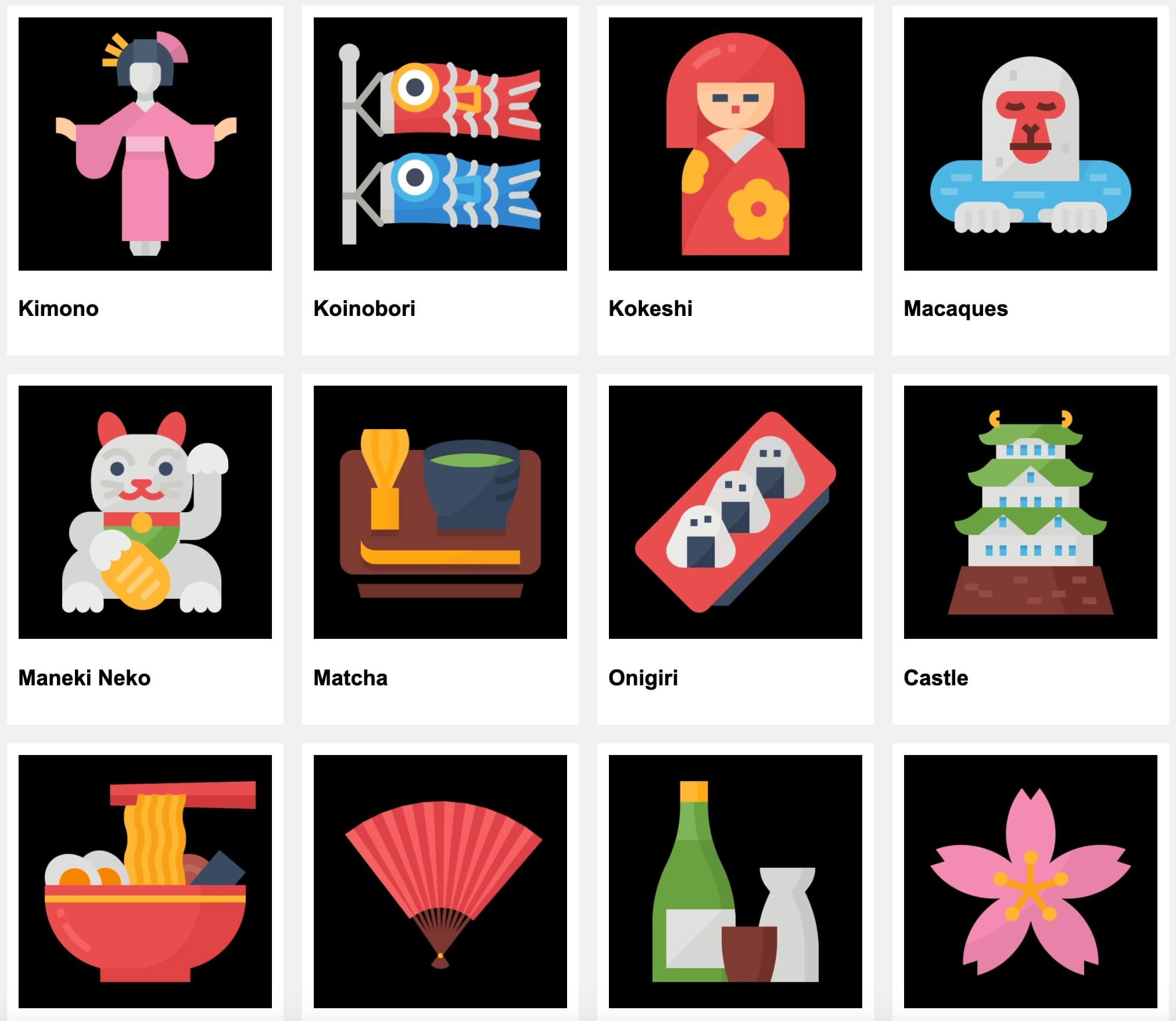 AE模板 36个卡通风格日本传统文化ICON图表动画 Japan Icons
