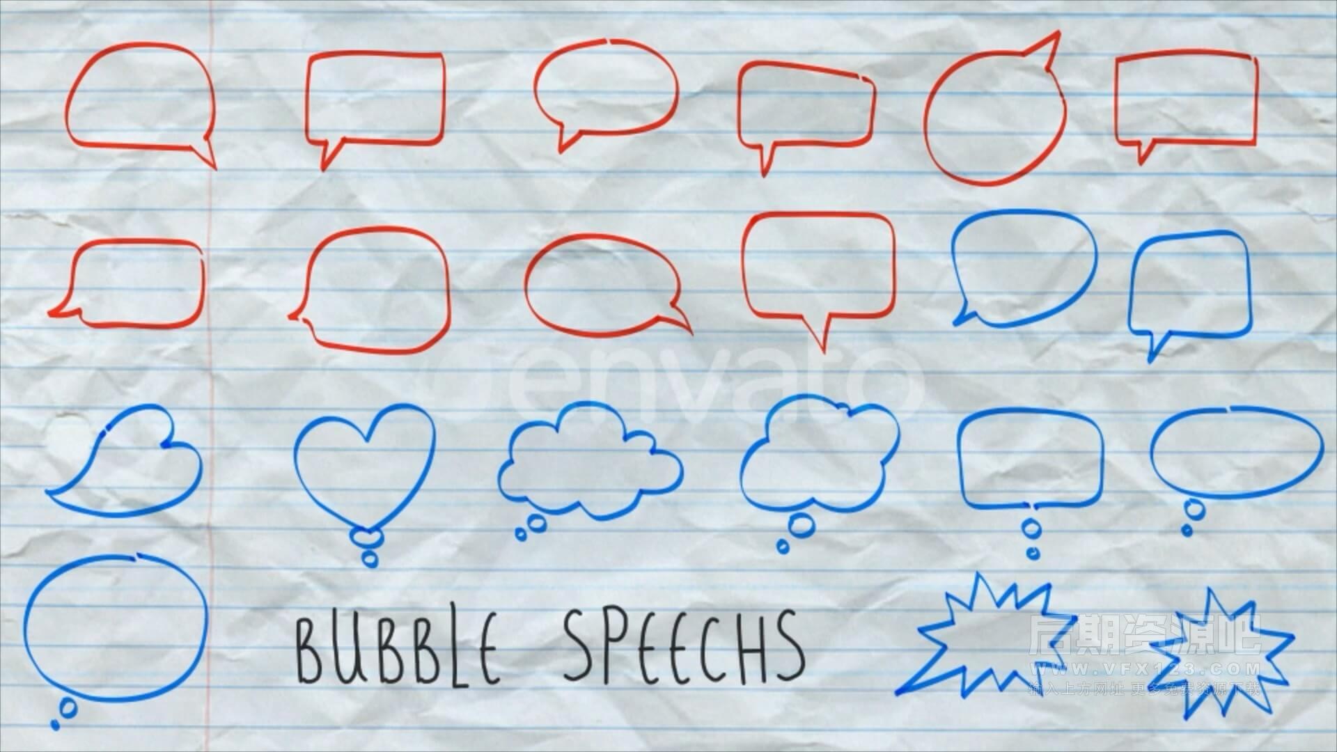 146个手绘草图字幕箭头圆圈线条形状气泡等动画素材 Sketch Elements