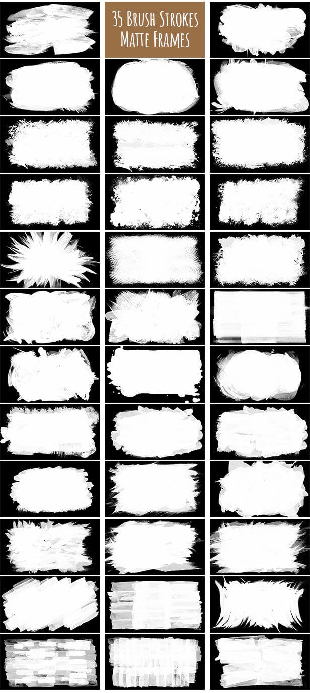 视频素材 35个创意艺术笔刷样式画框 Brush Strokes