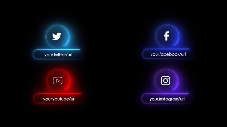 AE模板 霓虹灯光效效果字幕条标题模板 Neon Social Media Lower Thirds