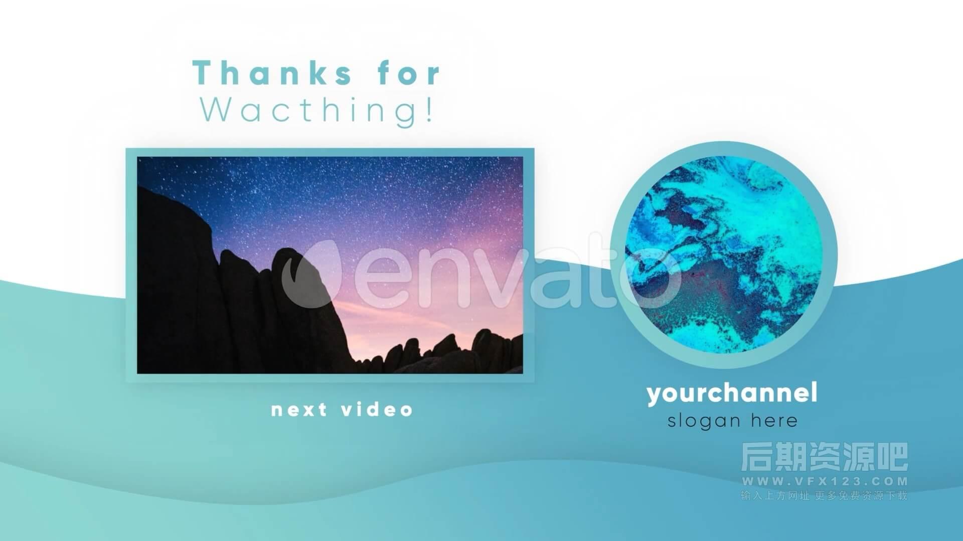 fcpx插件 短视频UP博主下节预告带订阅推广模板 Youtube Stylish Endcards