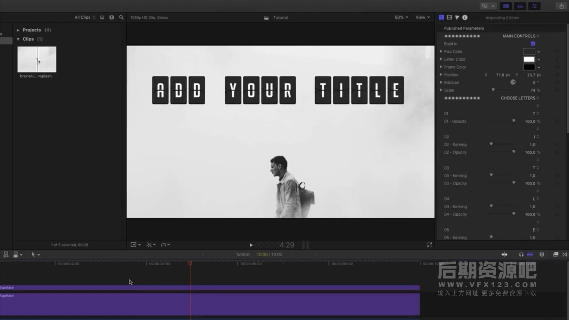 fcpx标题插件 文字翻页跳板动画模板 Flip Board Animated Typeface