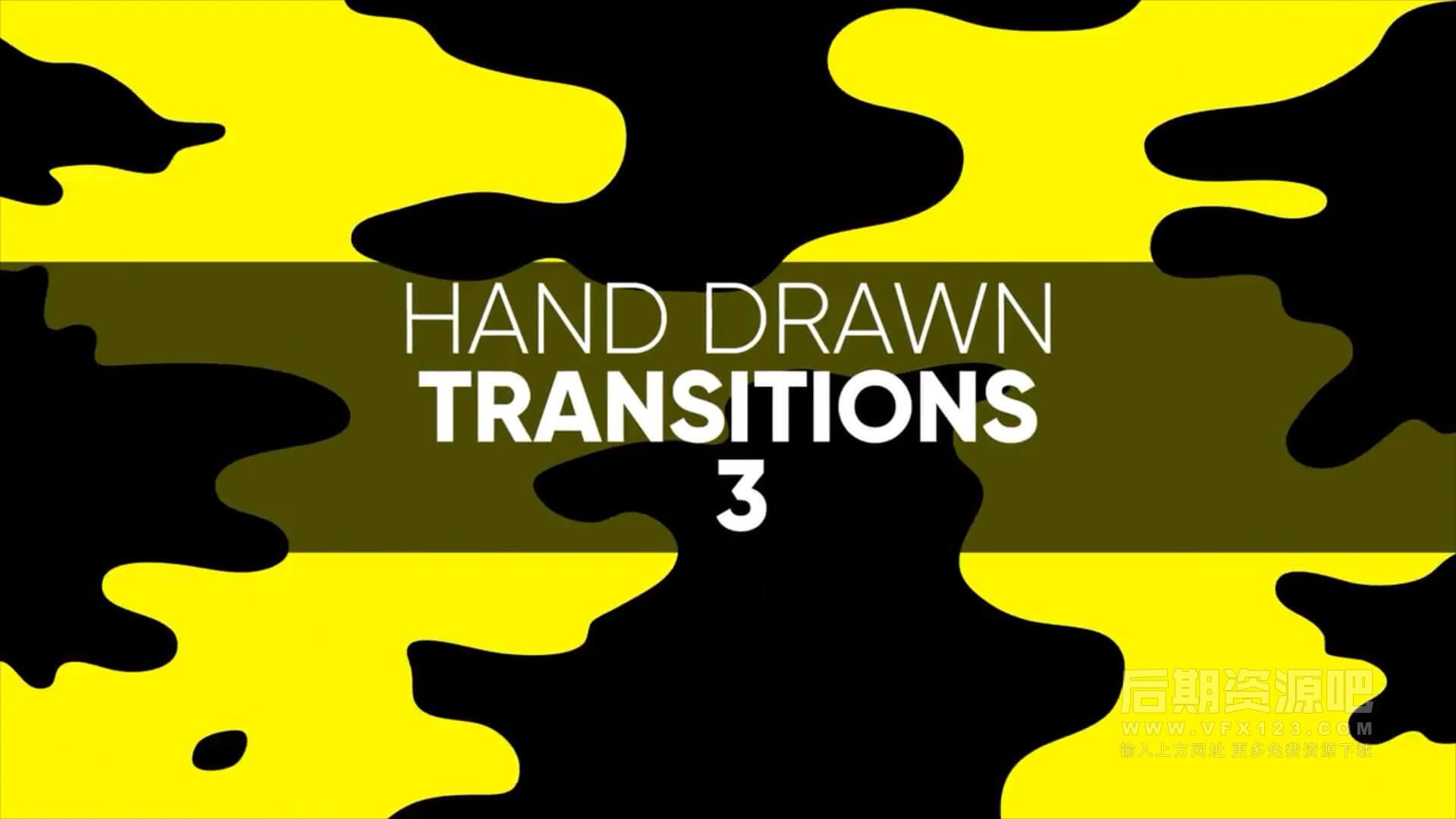 fcpx转场插件 16组卡通手绘可更改颜色转场预设系列3 Hand Drawn Transitions