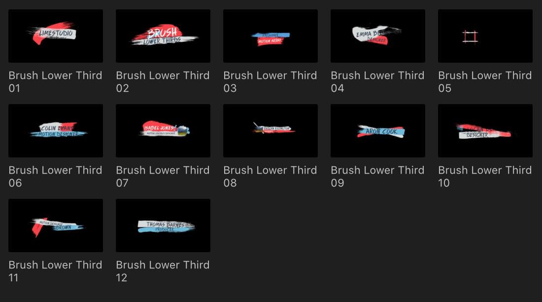 fcpx标题插件 彩色笔刷样式字幕条标题模板 Brush Lower Thirds