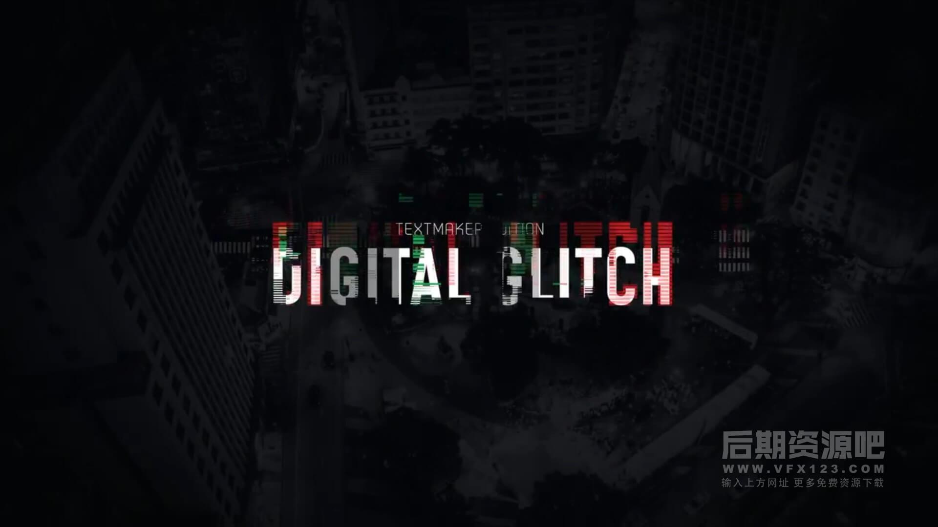 fcpx标题插件 数码评测科技类信号干扰特效标题模板 Titles Animator Digital Glitch