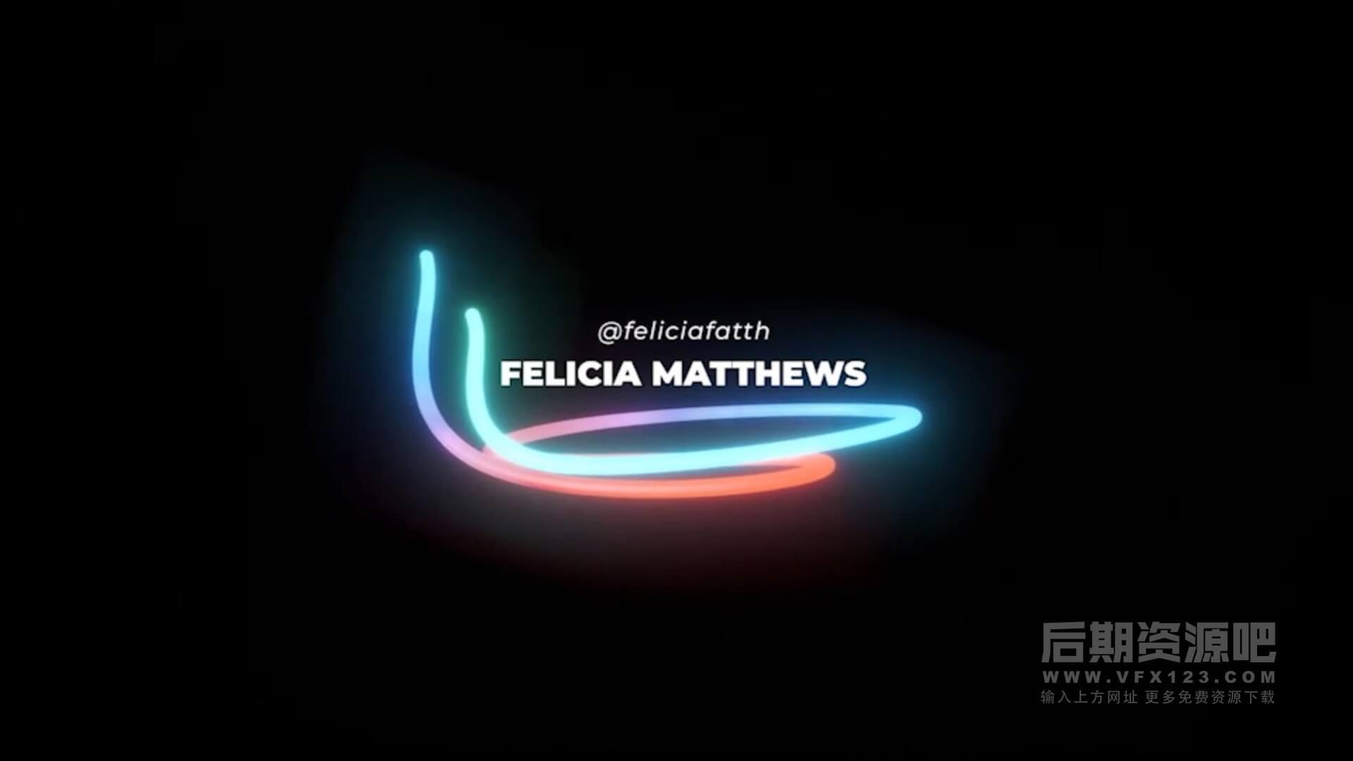 fcpx标题插件 16组时尚霓虹灯闪光效果标题模板 Lower Thirds Neon Titles