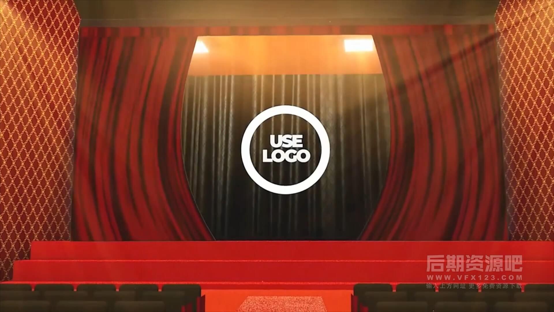 fcpx插件 影院红色大幕拉开动画徽标LOGO展示模板 Theater Logo reveal