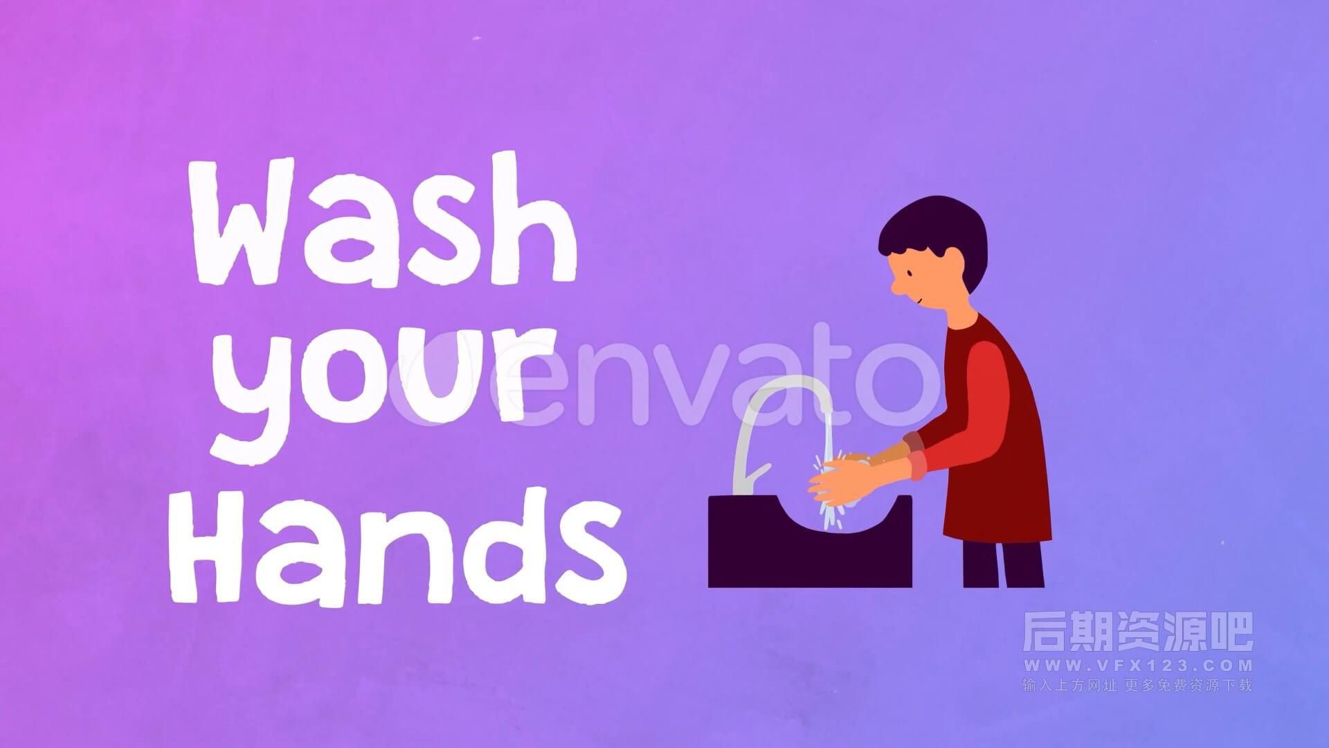 AE模板 卡通卫生防疫宣传片模板+ICON动画 Coronavirus Covid Slideshow