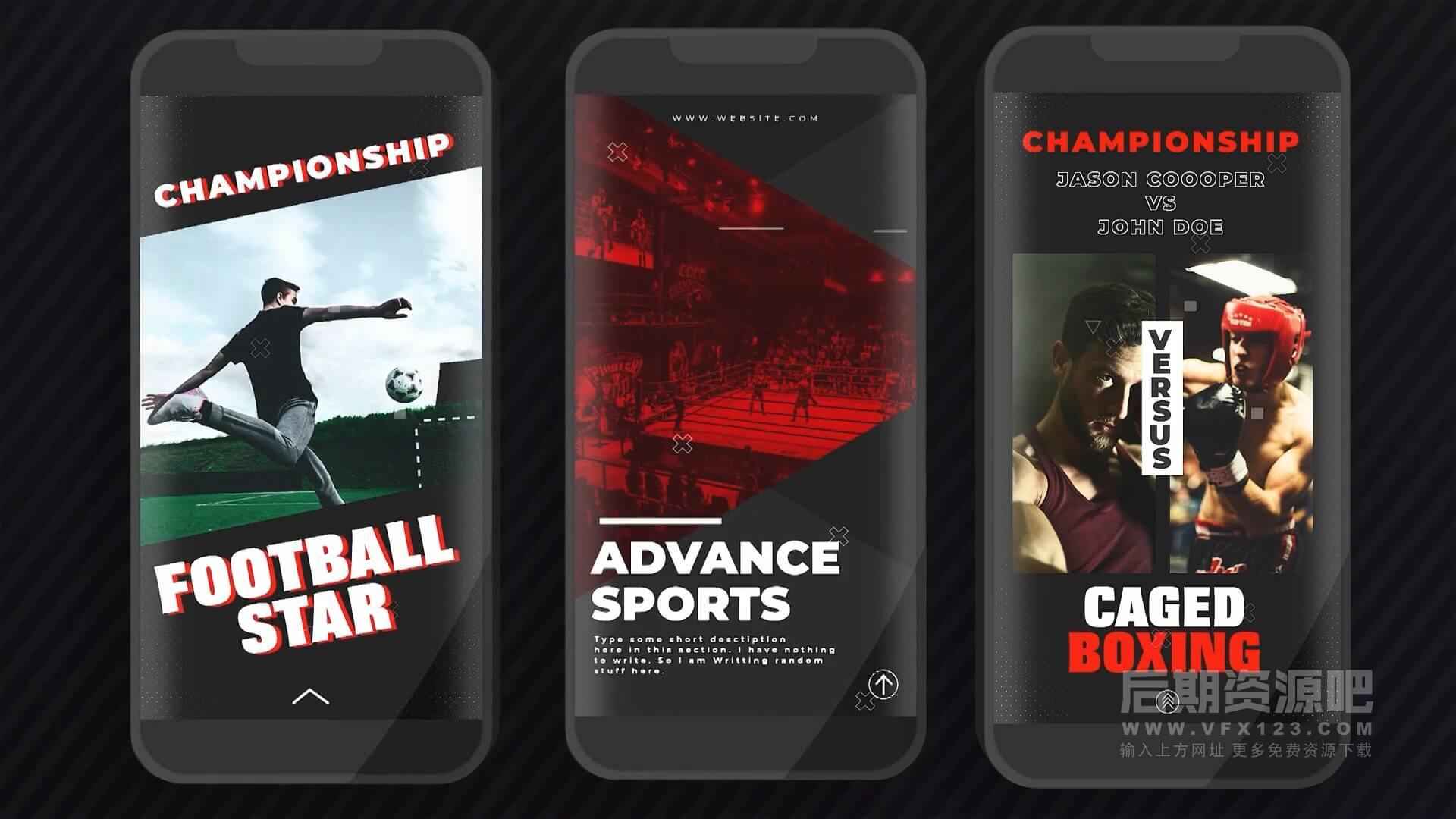 fcpx插件 25组适用手机竖屏体育竞技类标题排版预设 Sports Instagram Stories
