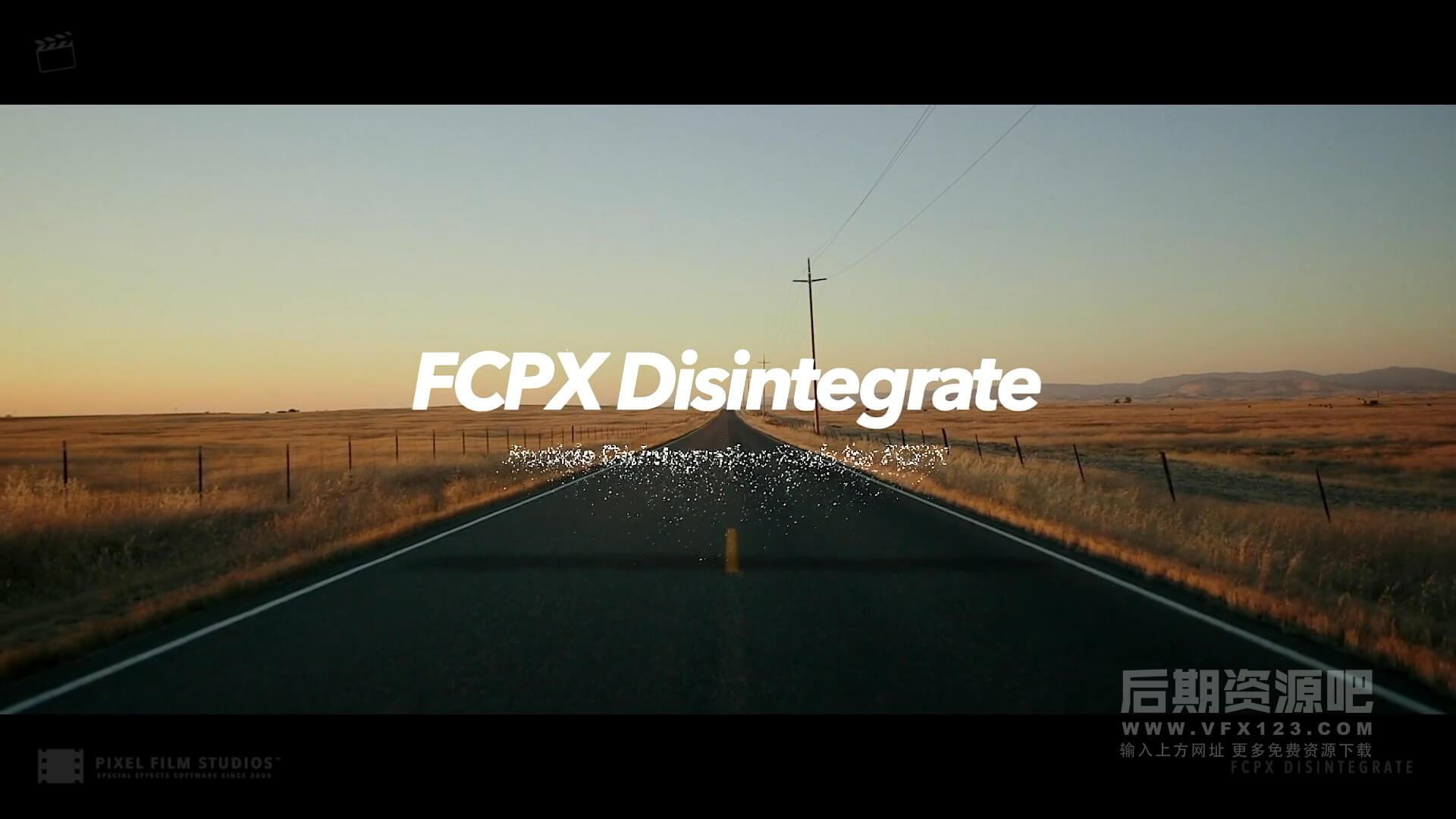 FCPX特效插件 图片文字粒子沙化消散汇聚飞散溶解 Fcpx Disintegrate
