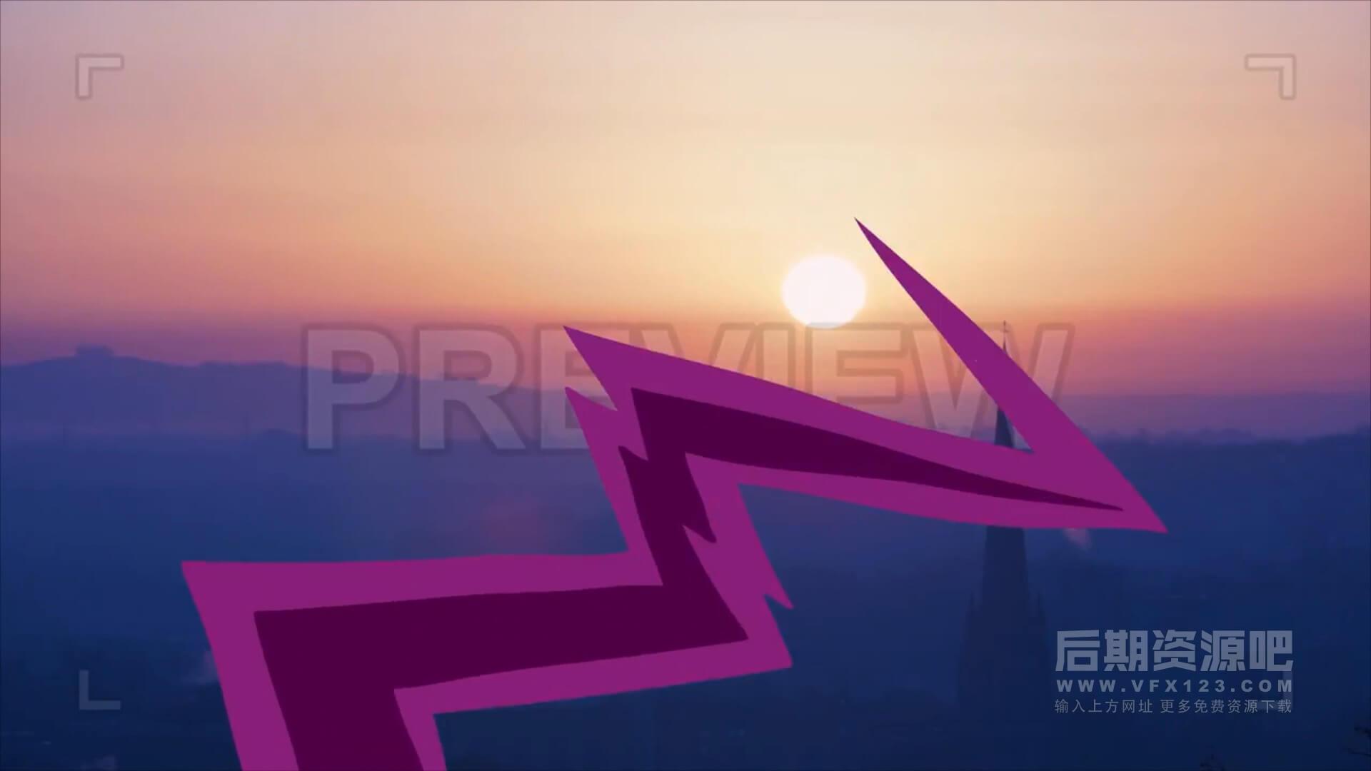 Fcpx转场插件 16组手绘卡通撕裂曲线闪电样式转场预设 Curves Transition
