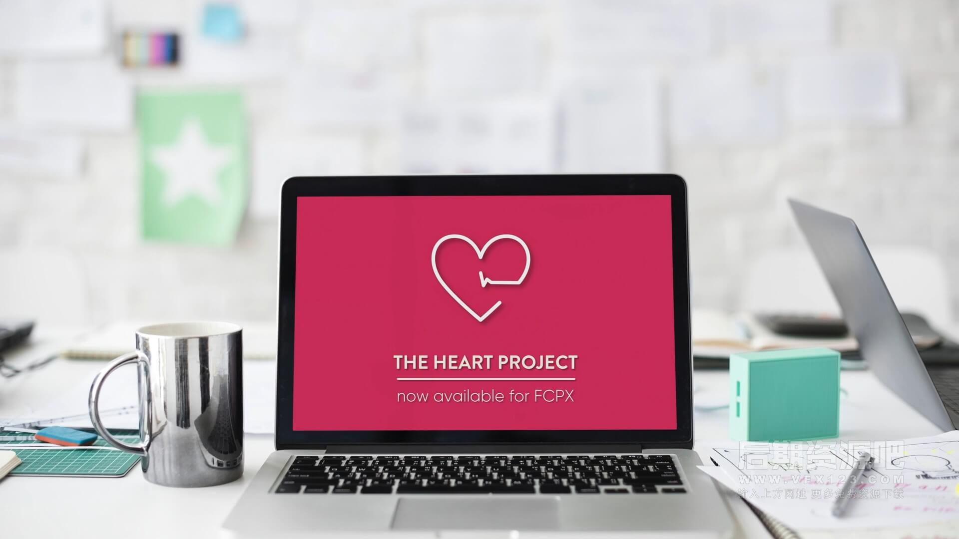 FCPX插件 8组可爱简约小清新桃心爱心动画 The Heart