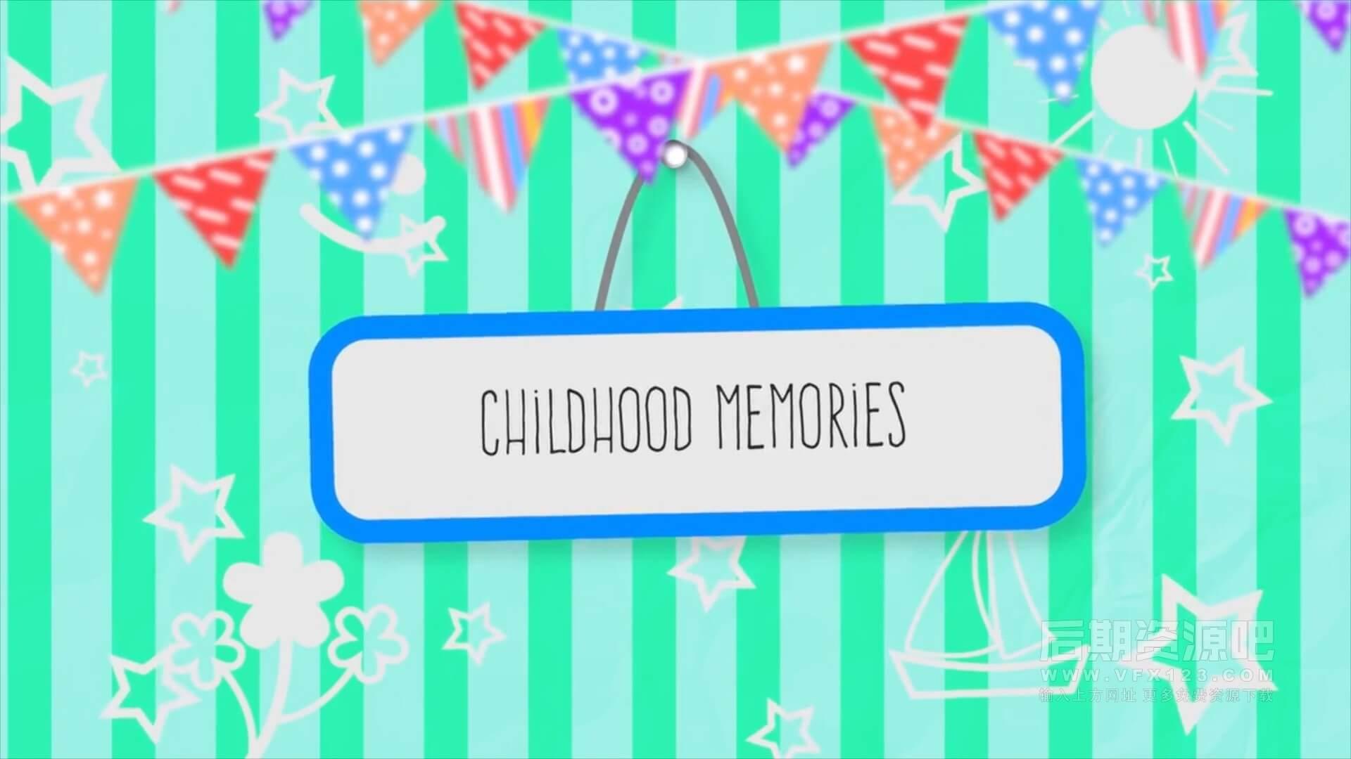 Fcpx主题模板 童年记忆六一儿童节聚会照片视频展示 Childhood Memories