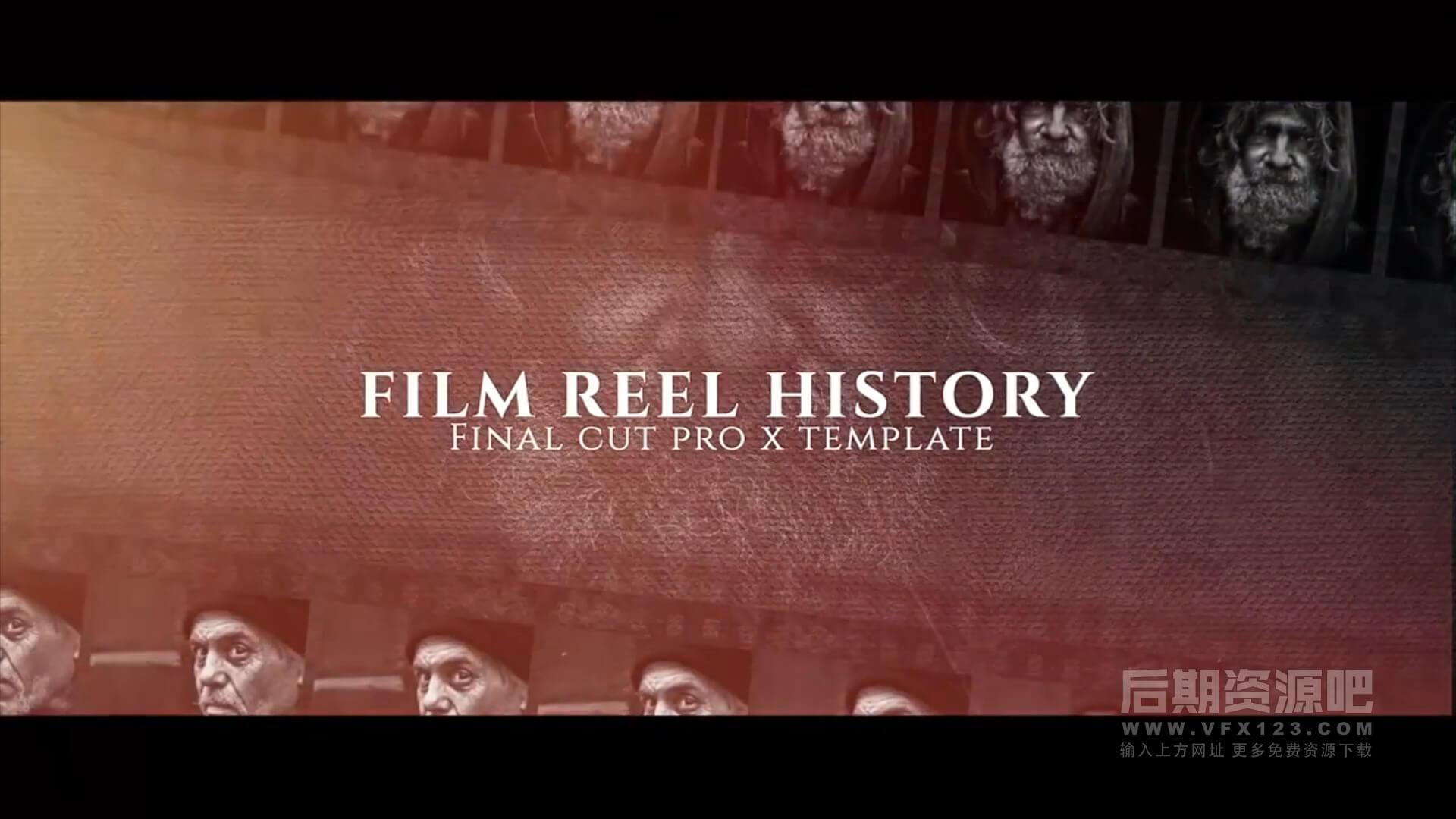 FCPX主题模板 胶片风格历史回顾纪念相册 Film Reel History