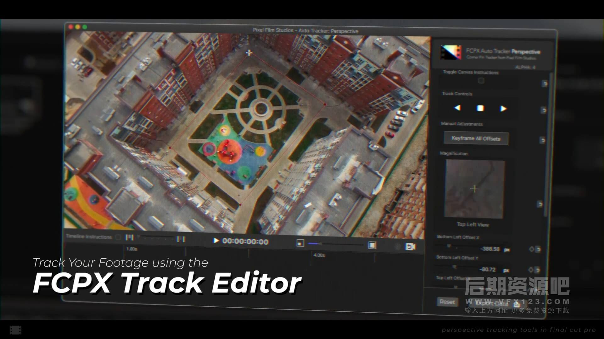 fcpx特效插件 四点平面自动跟踪透视特效 Auto Tracker Perspective 2.1