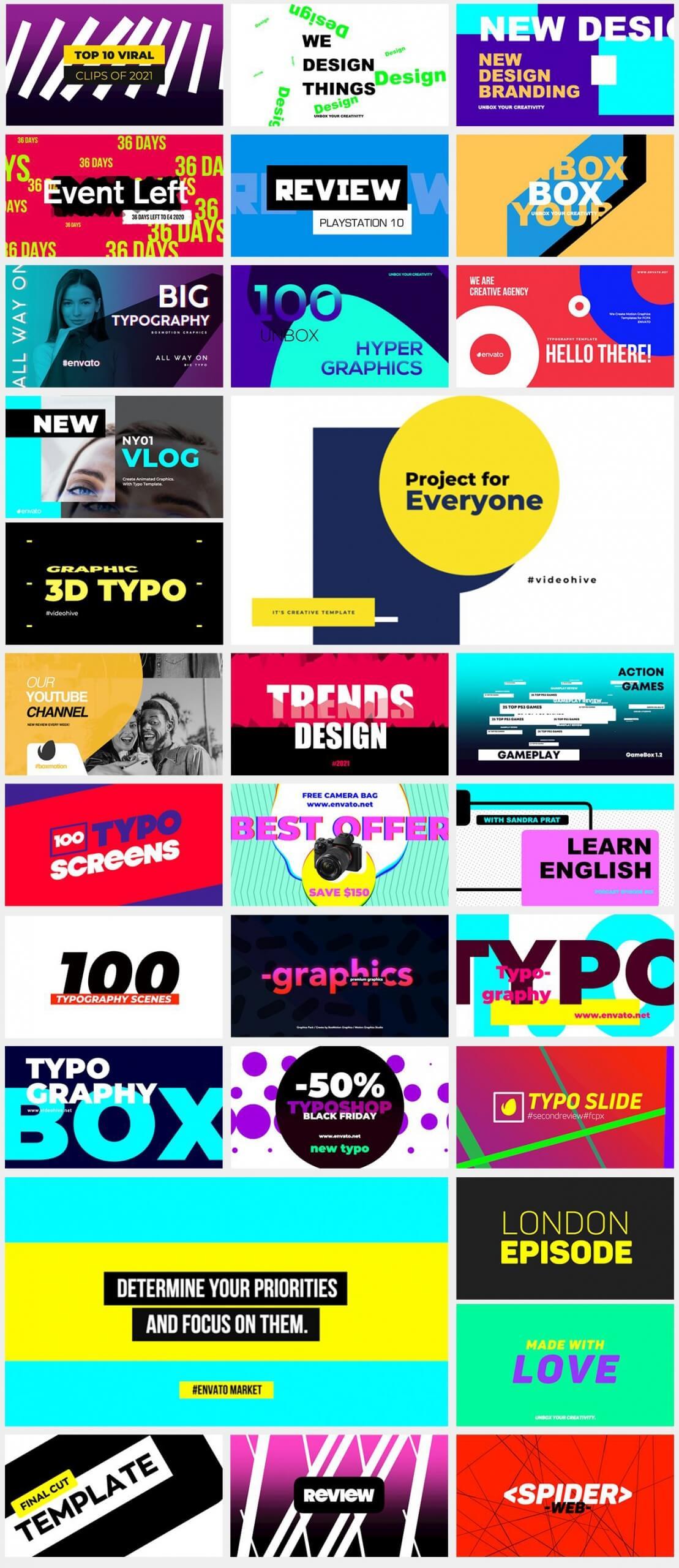 FCPX插件 158个流行时尚彩色图形场景文字标题排版设计动画 Titles Pack