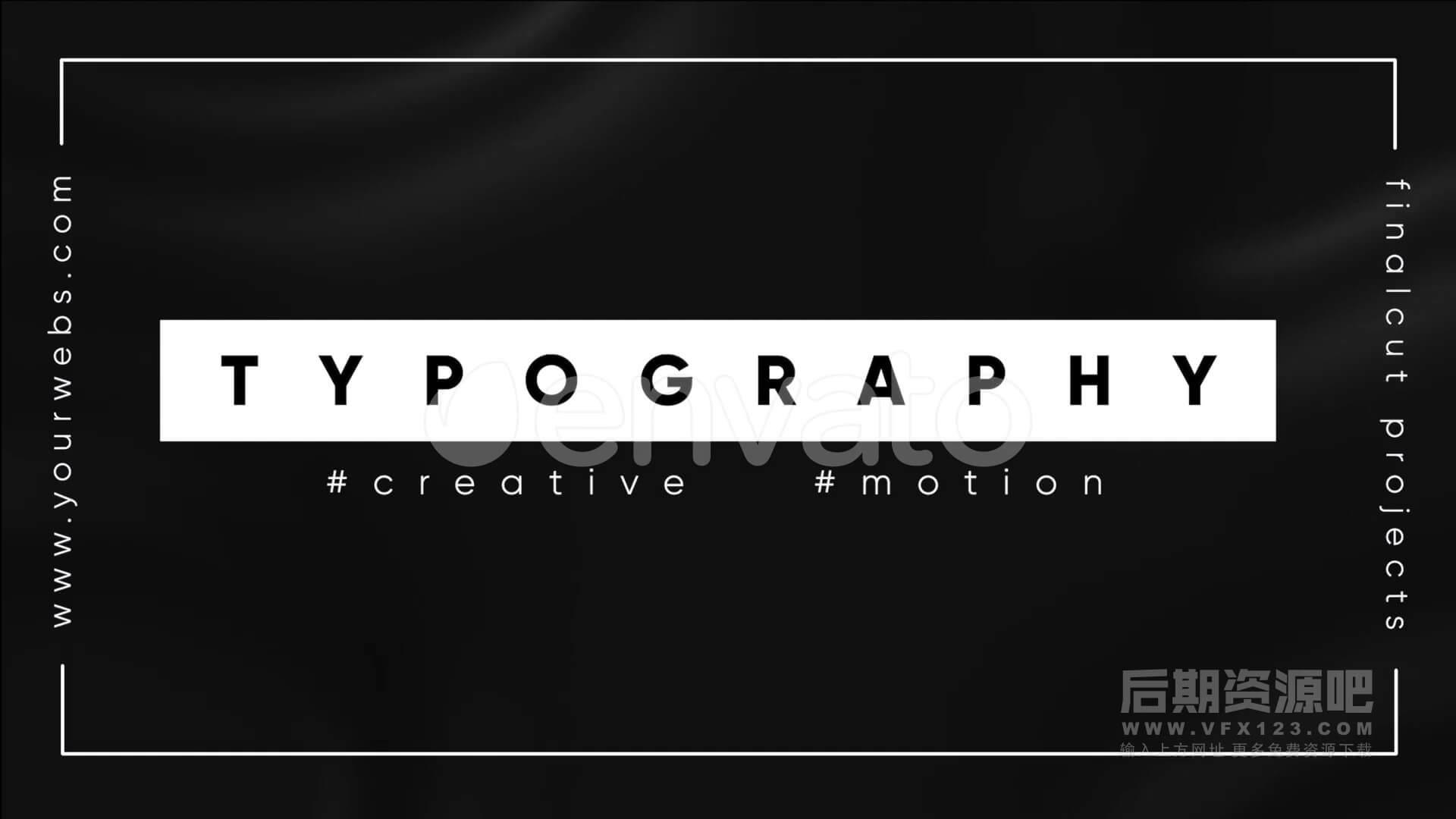 FCPX主题模板 单色黑白风格文字图形排版 Monochrome Typography