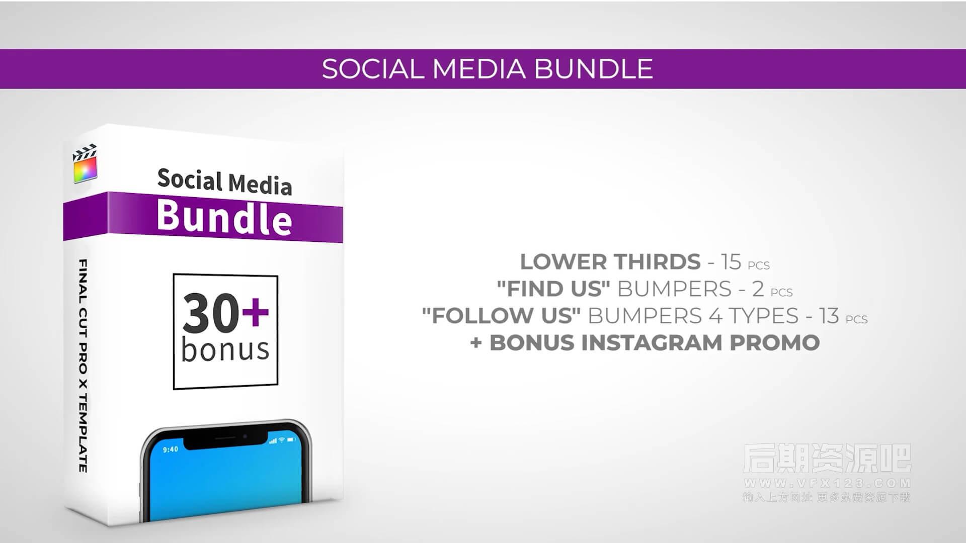 fcpx插件 社交媒体账号推广点赞关注评论模板 Social Media Bundle