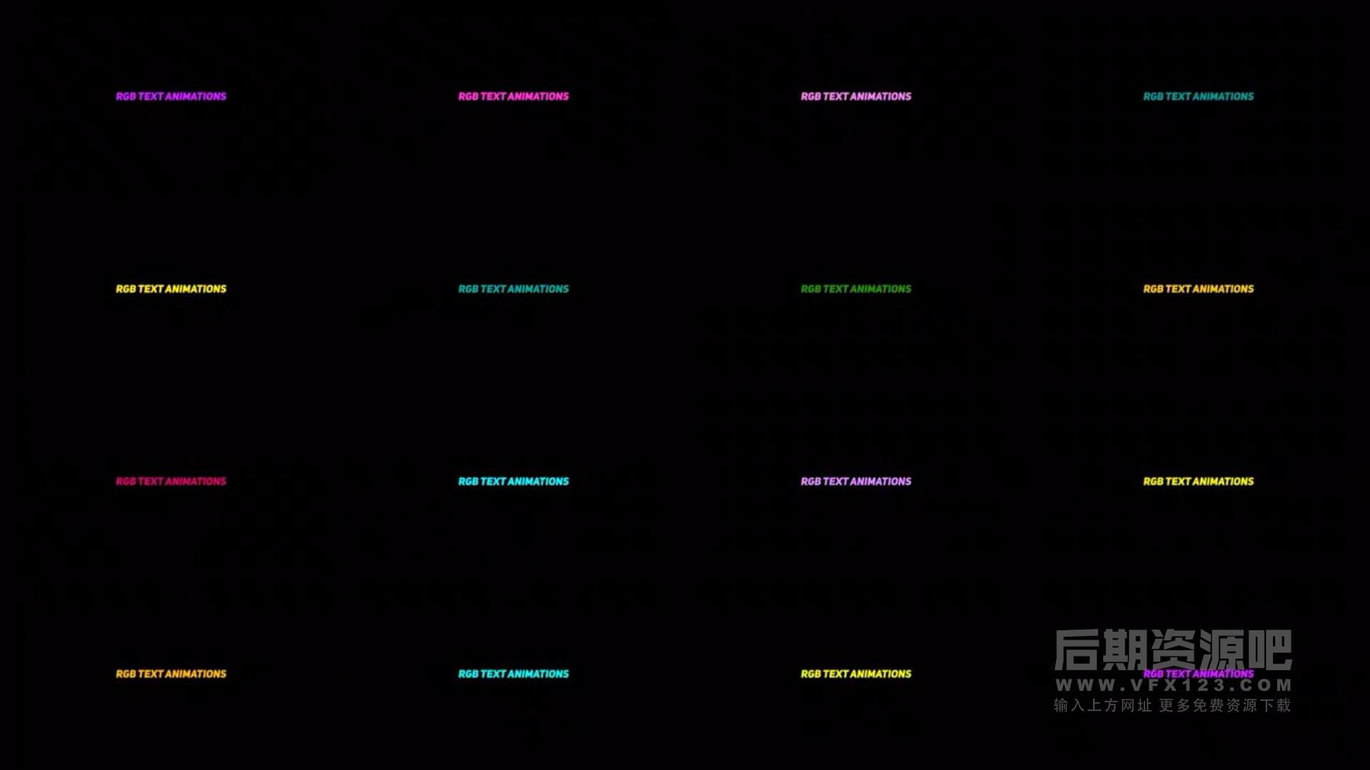 FCPX标题插件 16组RGB彩色闪烁跳动活泼文字标题预设动画 RGB Text Animations