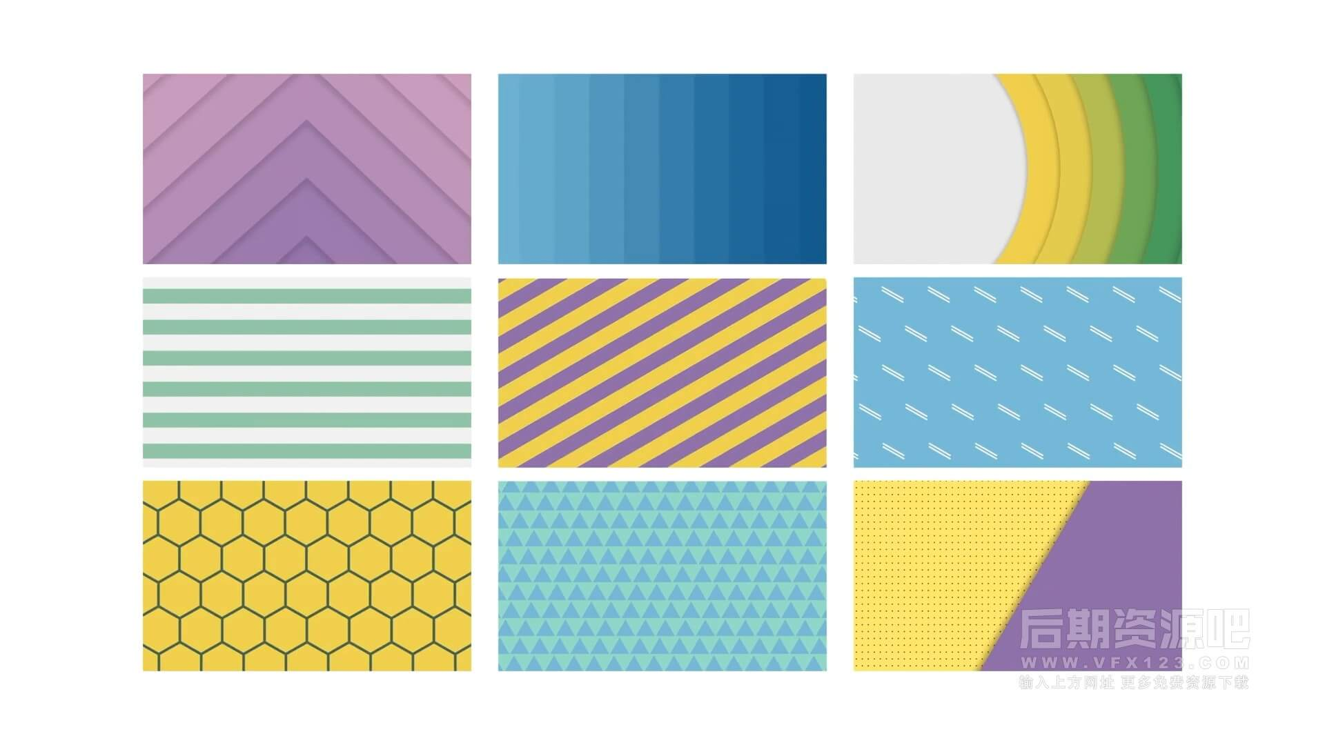 fcpx插件 15个简约小清新彩色图形背景动画 Animated Backgrounds
