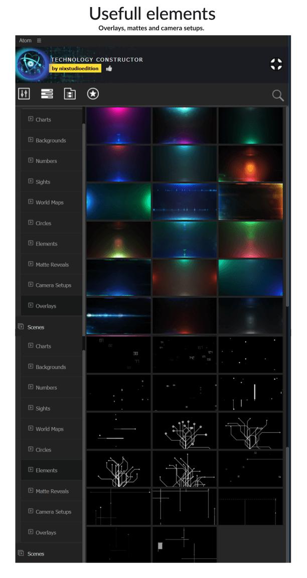 AE脚本 600个科技感HUD信息数据故障场景UI界面元素动画预设
